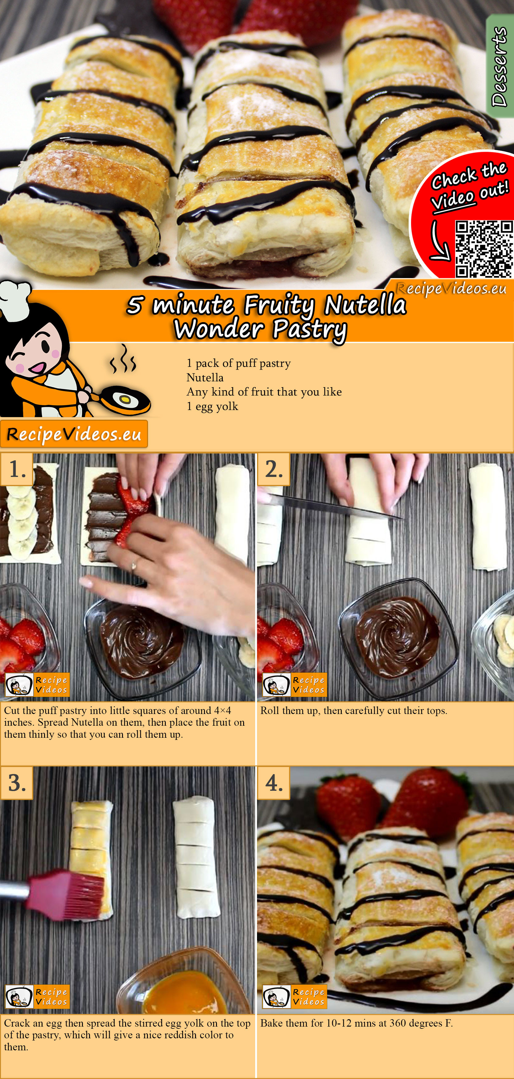 5 minute Fruity Nutella Wonder Pastry recipe with video