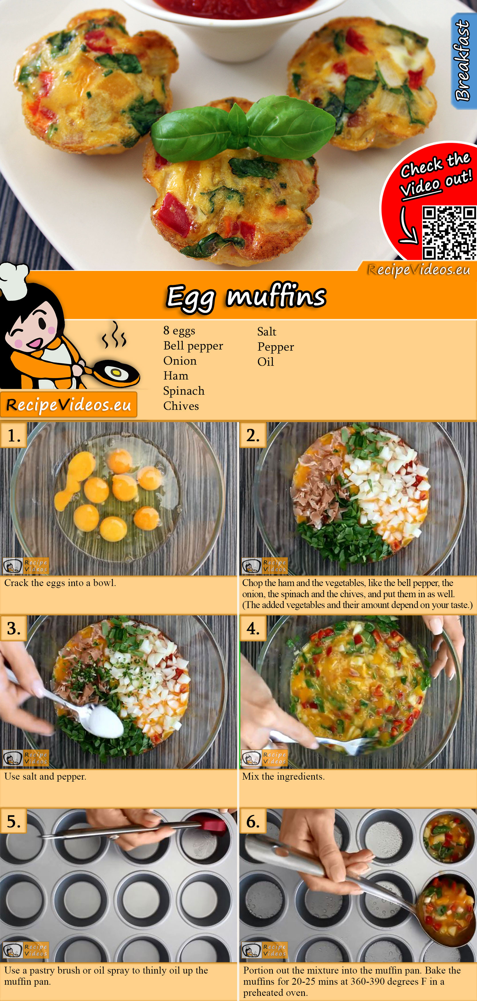 Egg muffins recipe with video
