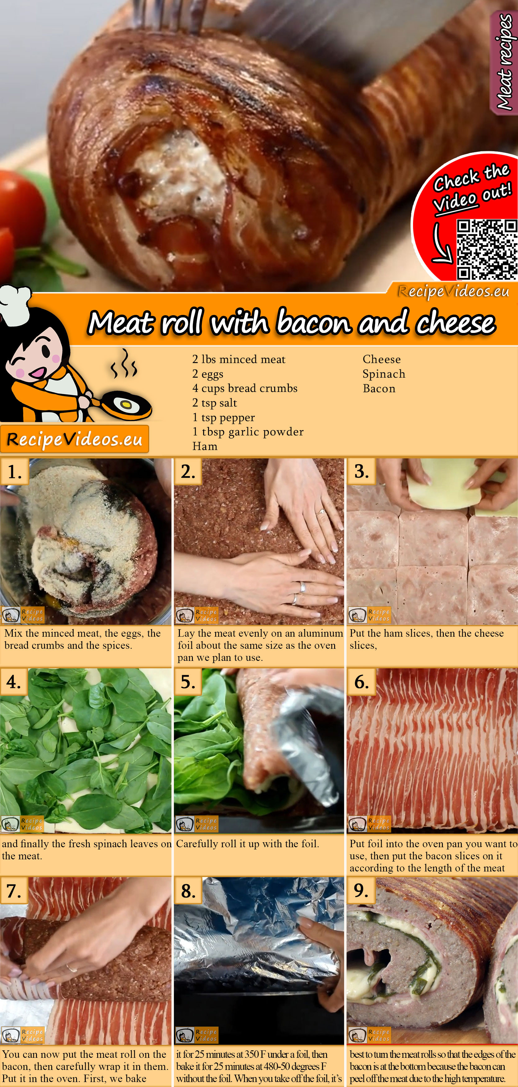 Meat roll with bacon and cheese recipe with video