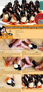 Mozzarella Penguins for your guests recipe with video