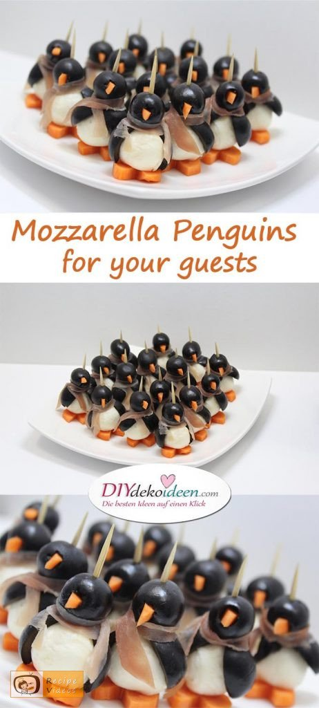 Mozzarella Penguins for your guests