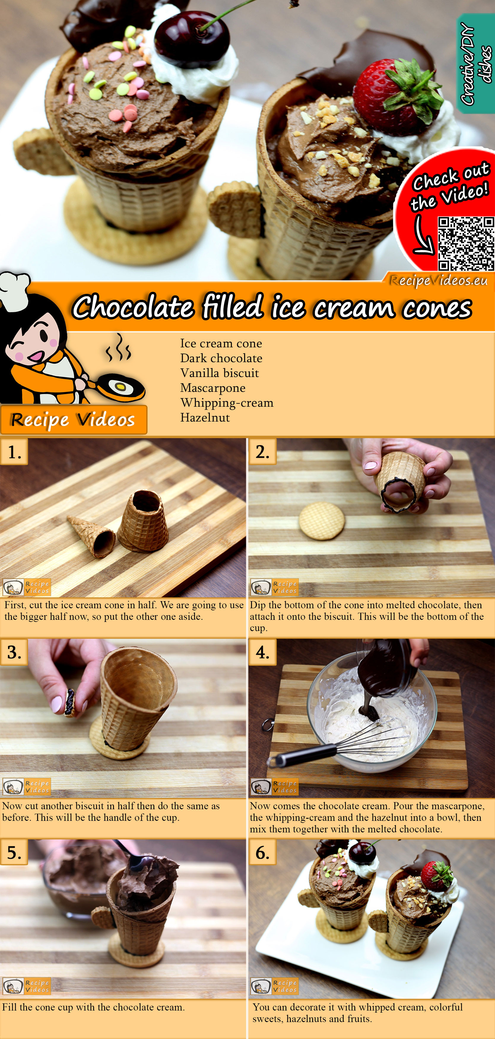 Chocolate filled ice cream cones recipe with video