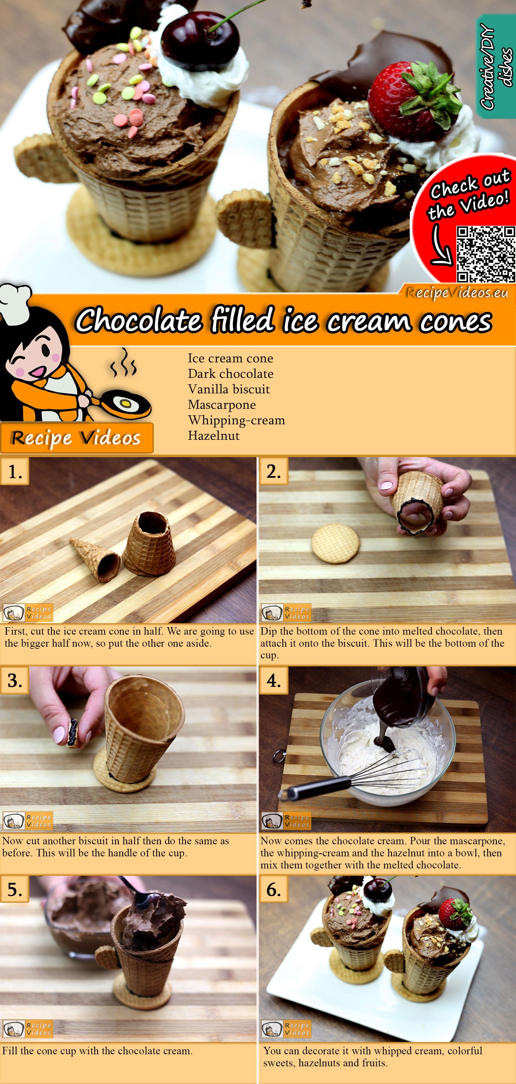 Chocolate filled ice cream cones recipe with video