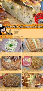 Bread filled with cheese and herbs recipe with video