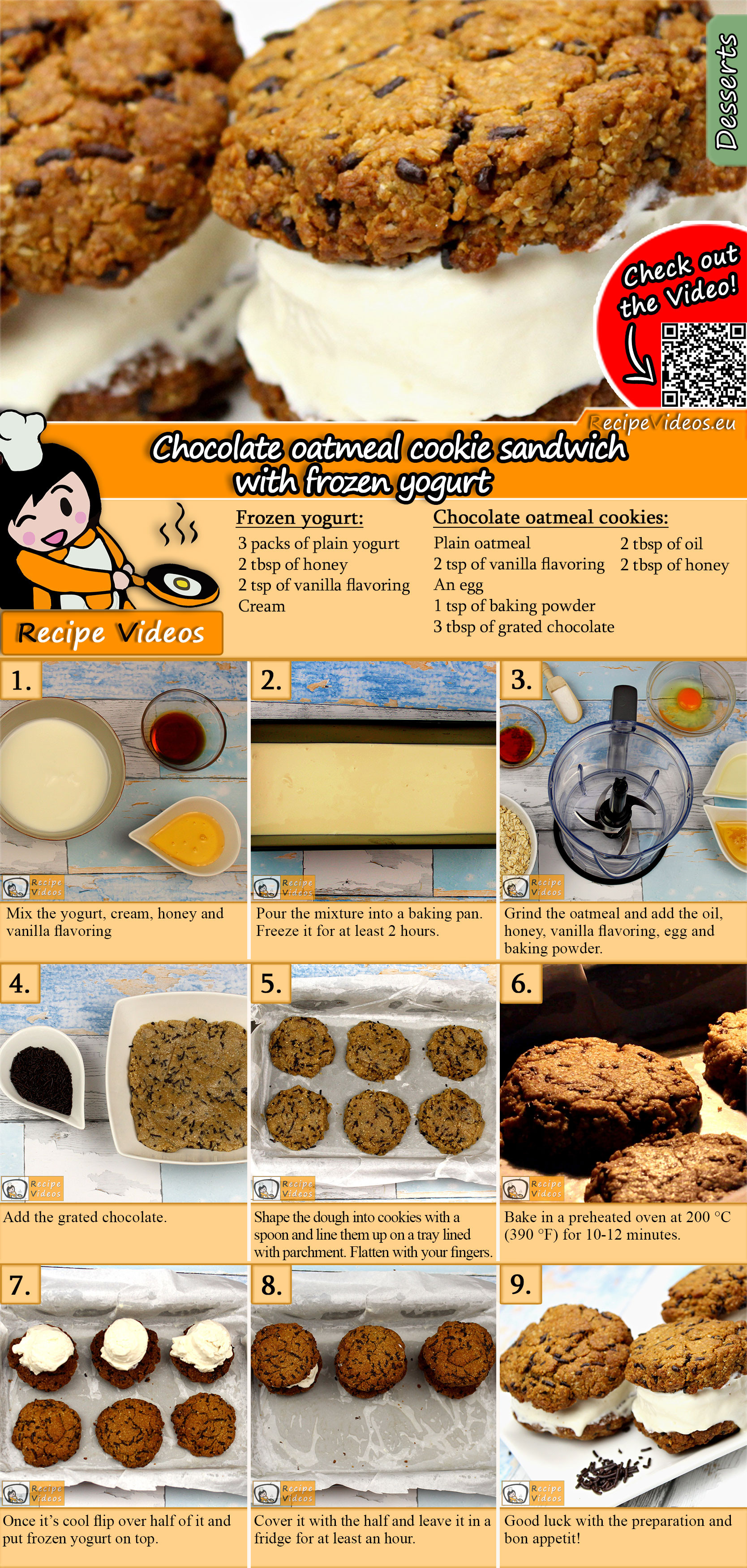 Chocolate oatmeal cookie sandwich with frozen yogurt recipe with video