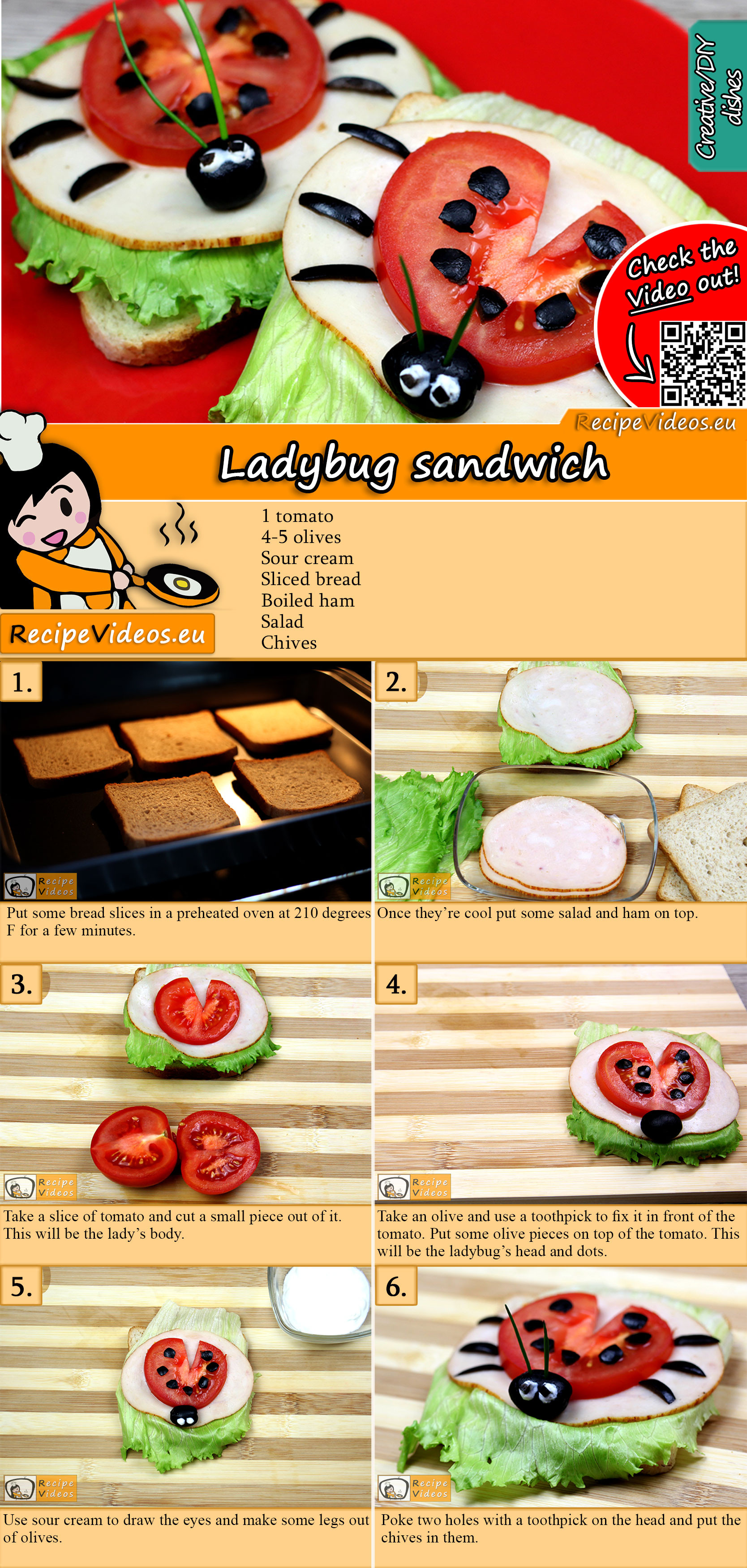 Ladybug sandwich recipe with video