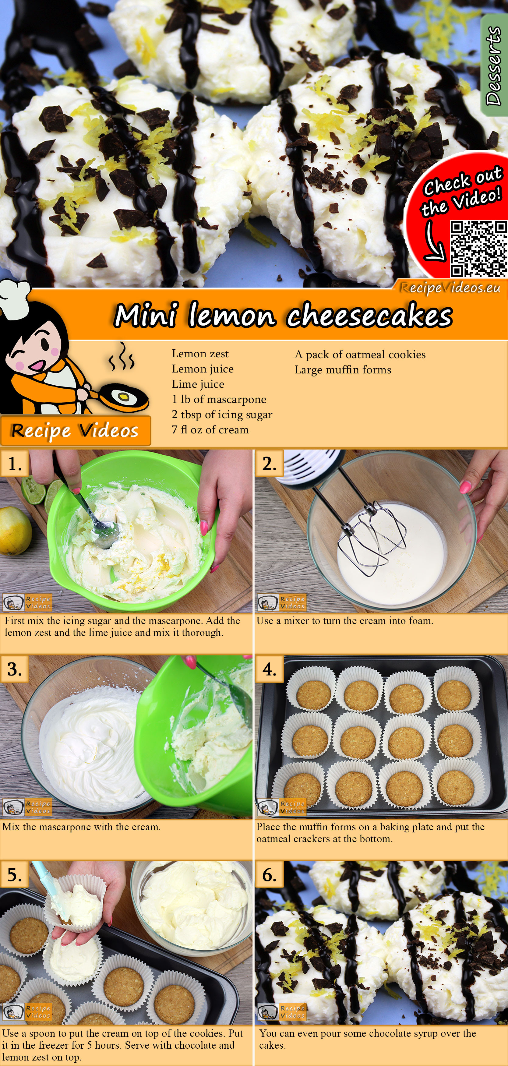 Mini cheesecake with lemon recipe with video