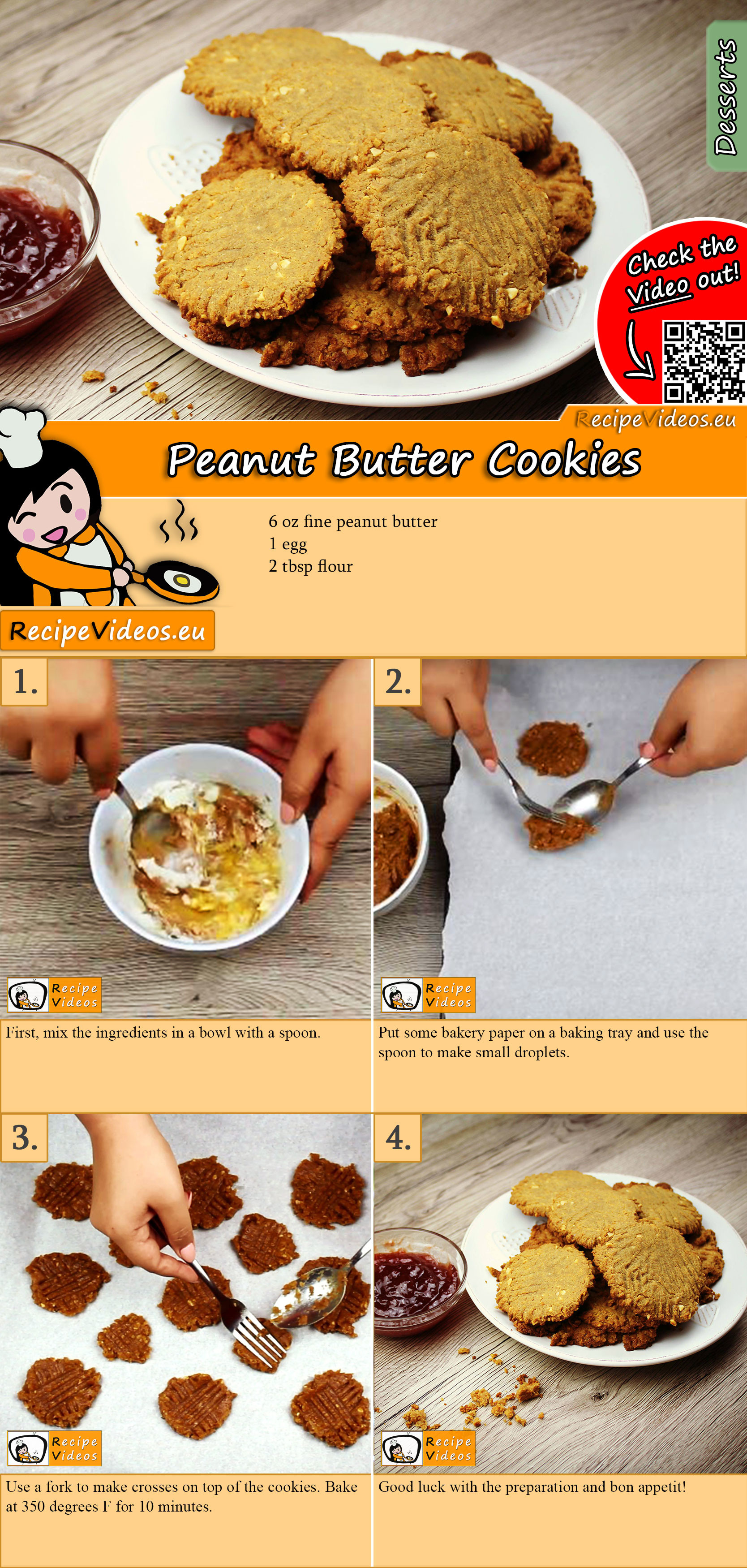 Peanut Butter Cookies recipe with video