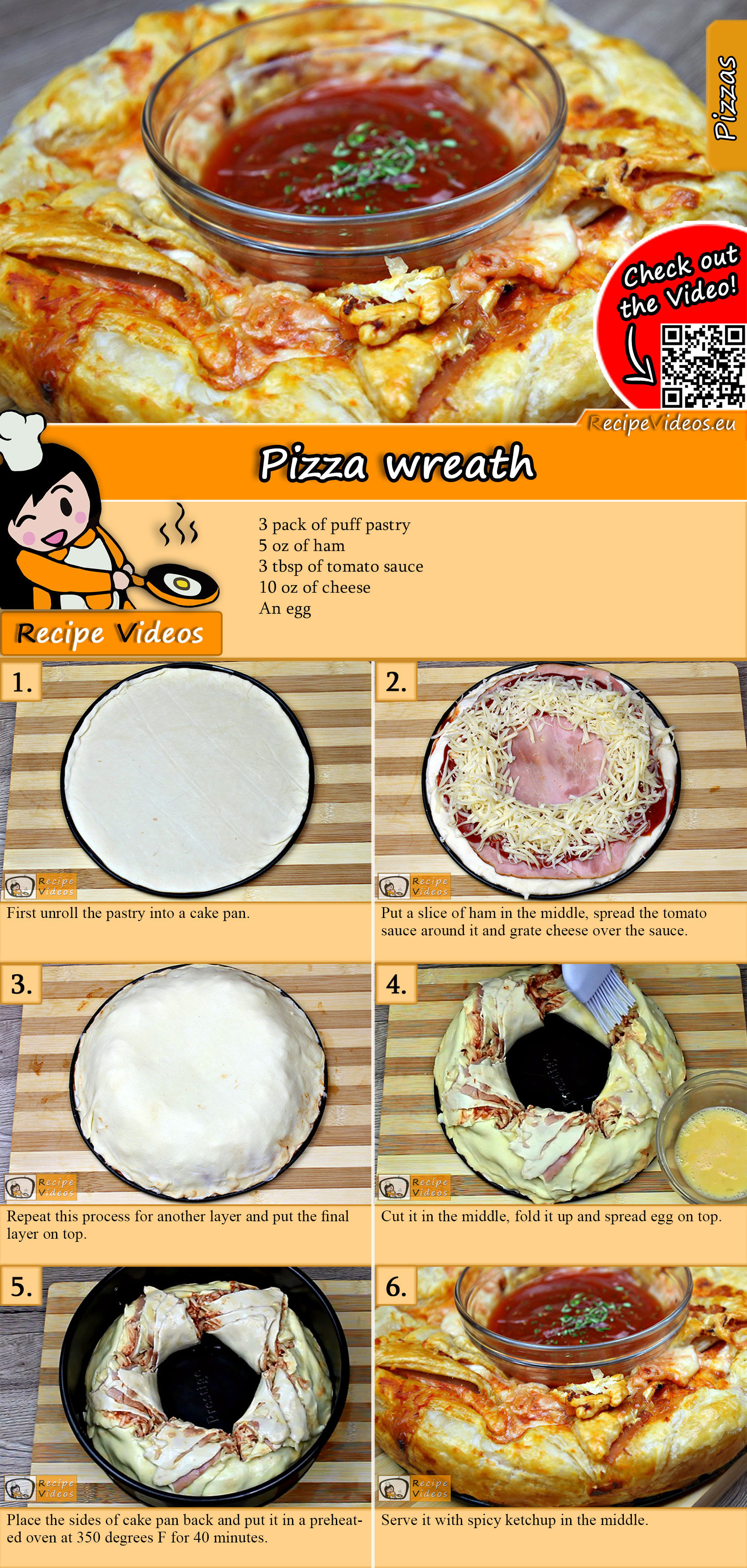 Pizza wreath recipe with video