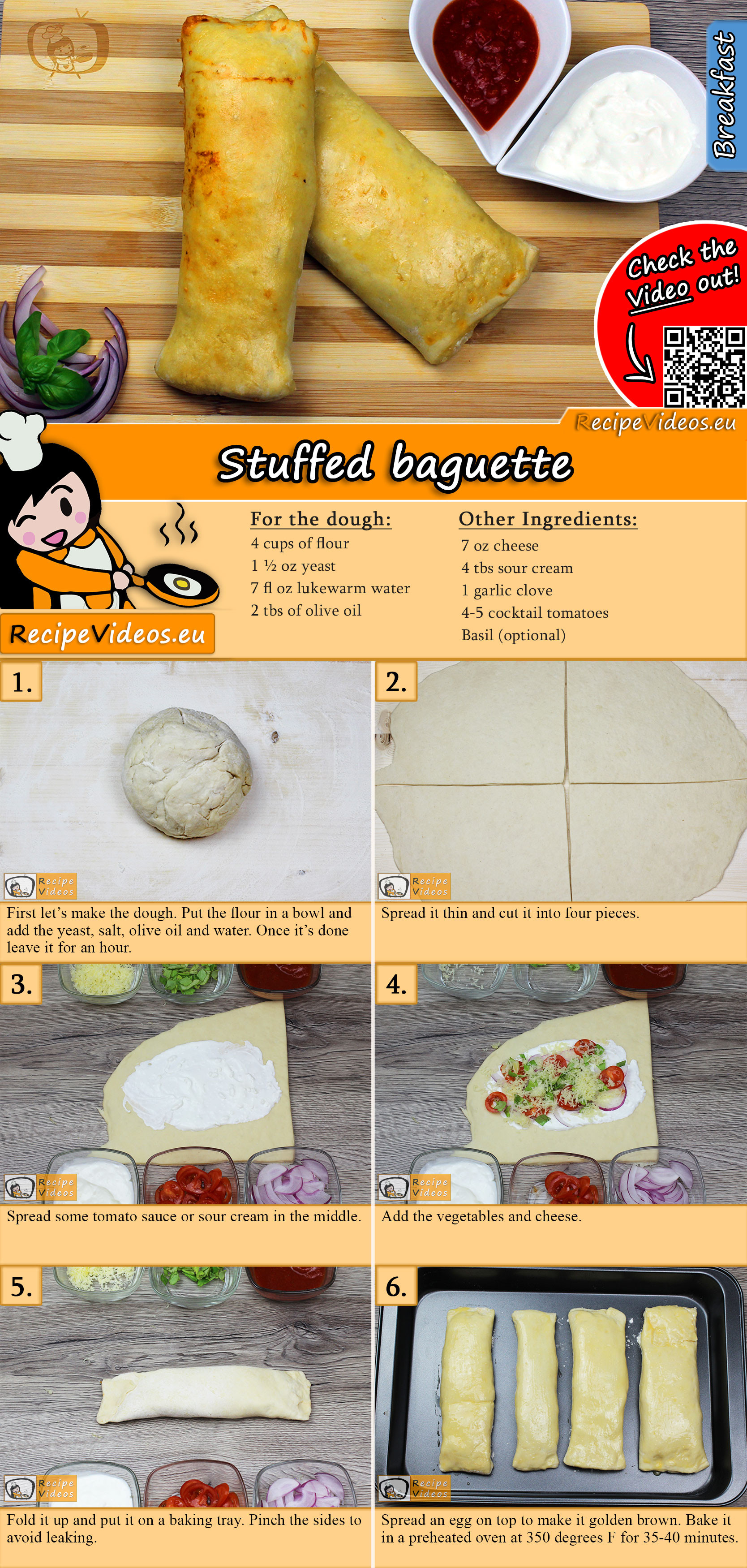 Stuffed baguette recipe with video