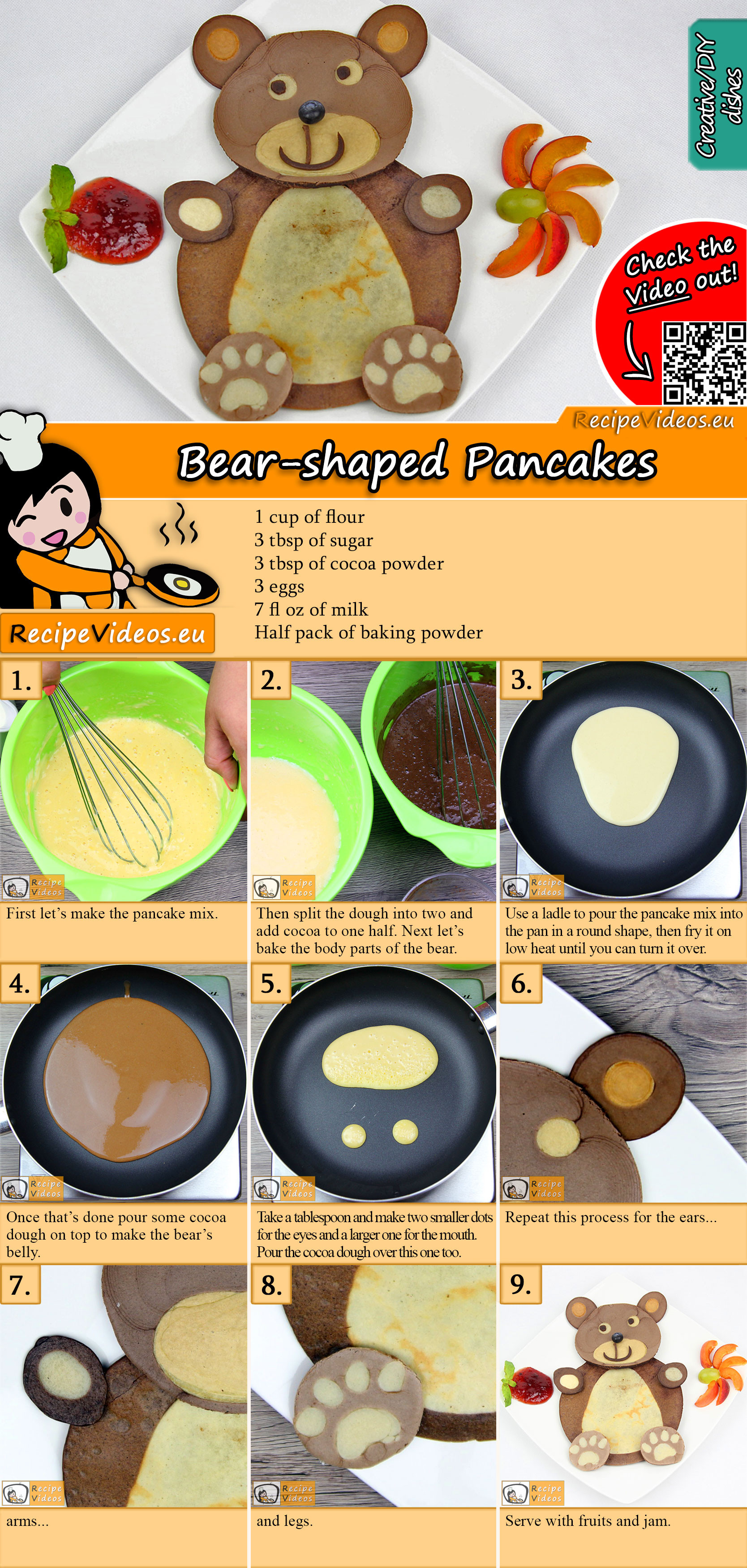 Teddy Pancakes recipe with video
