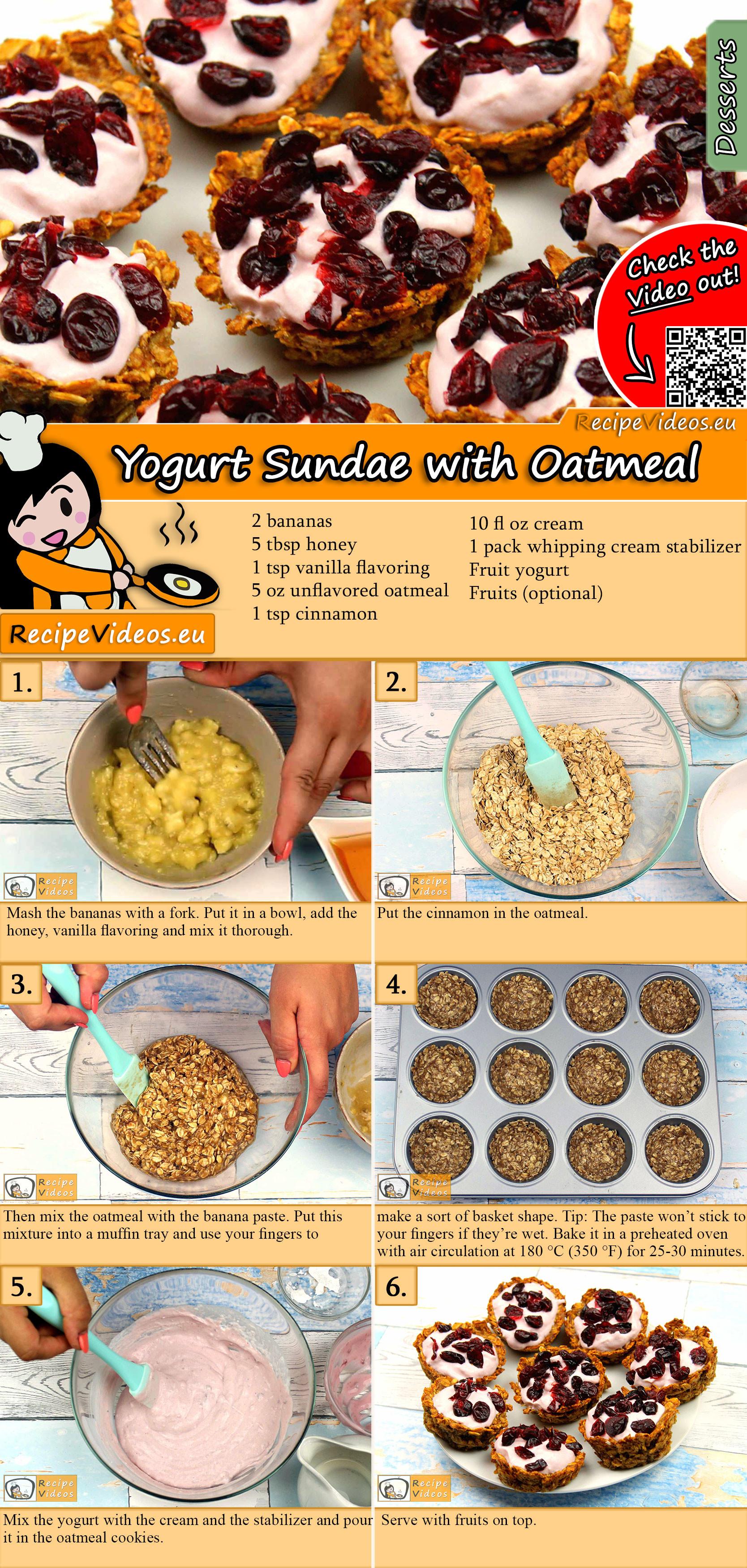Yogurt Sundae with Oatmeal recipe with video