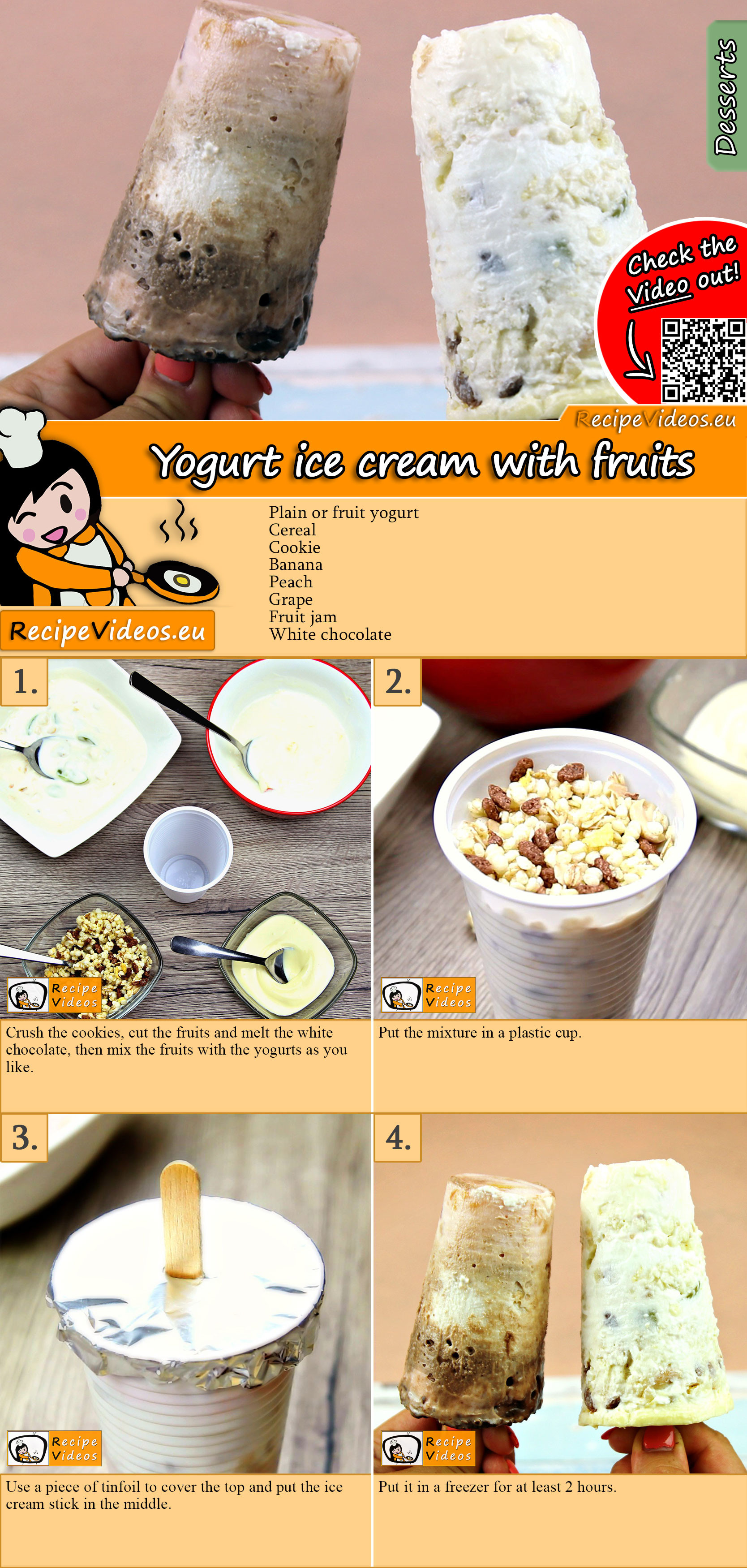 Yogurt ice cream with fruits recipe with video