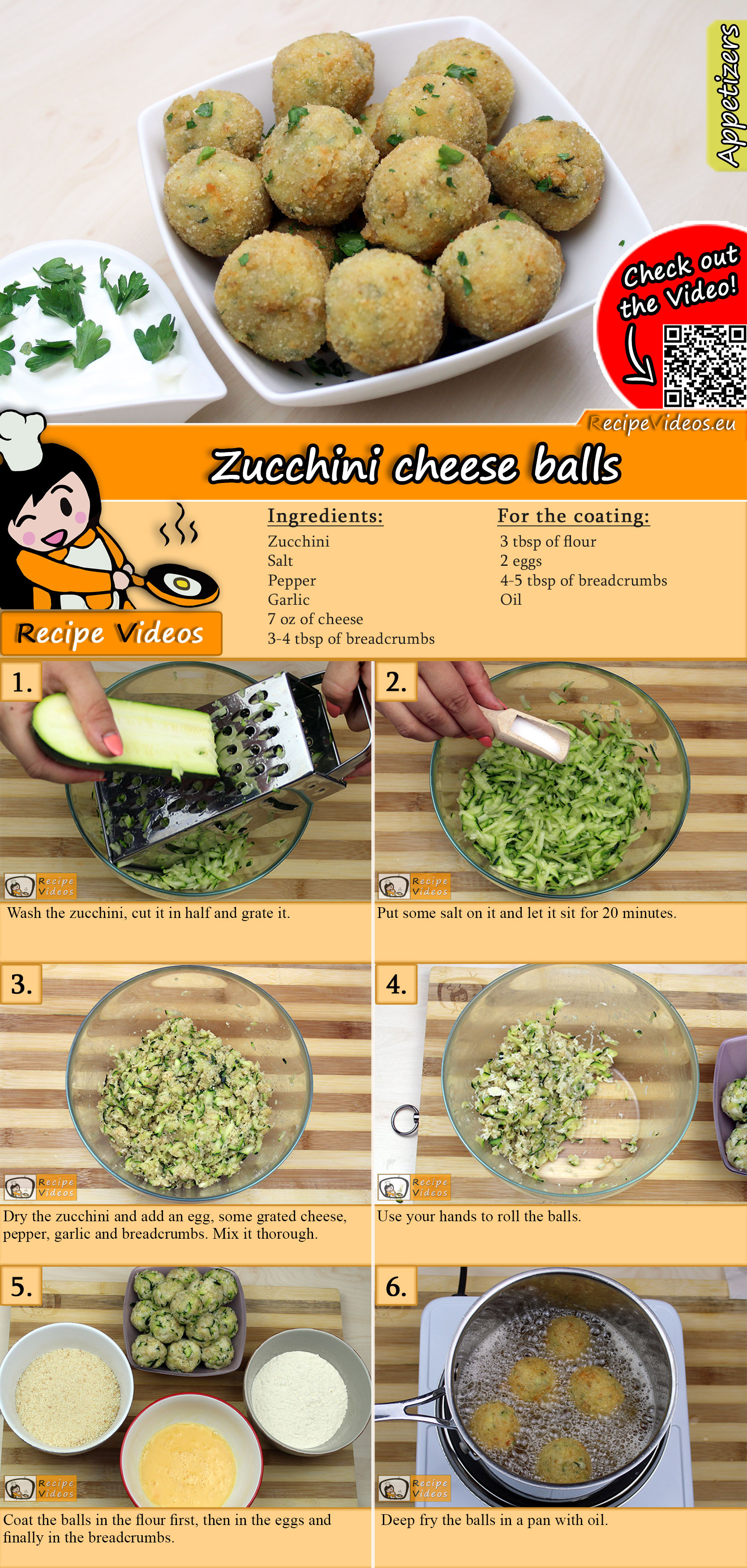 Zucchini cheese balls recipe with video