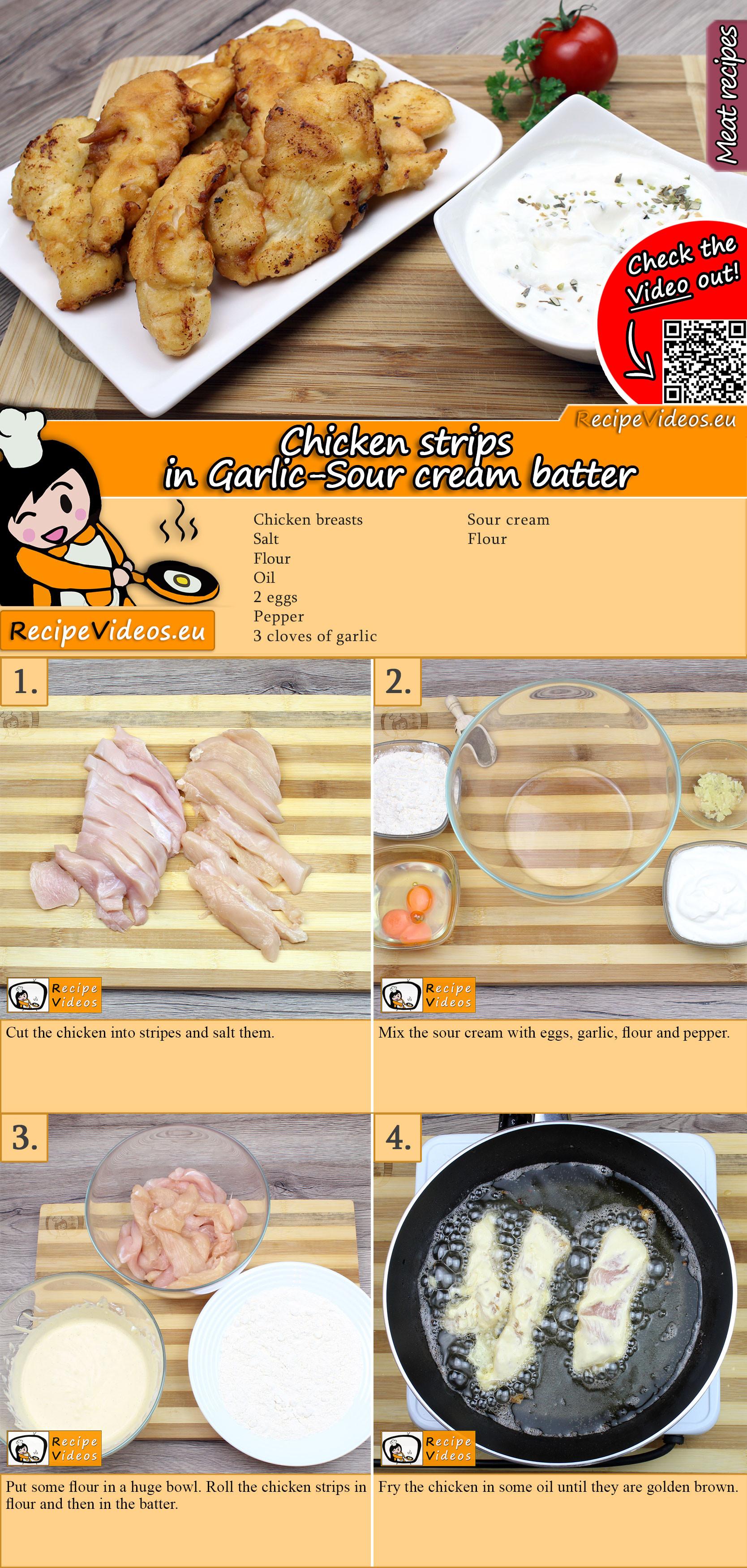 Chicken strips in Garlic-Sour cream batter recipe with video