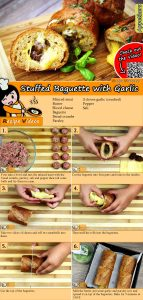 Stuffed baguette with garlic recipe with video