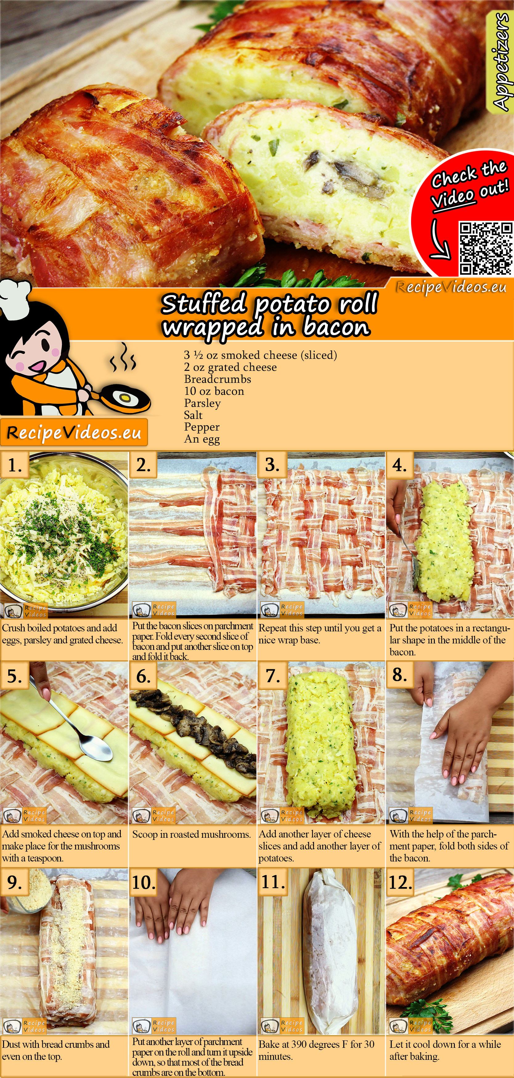 Stuffed potato roll wrapped in bacon recipe with video
