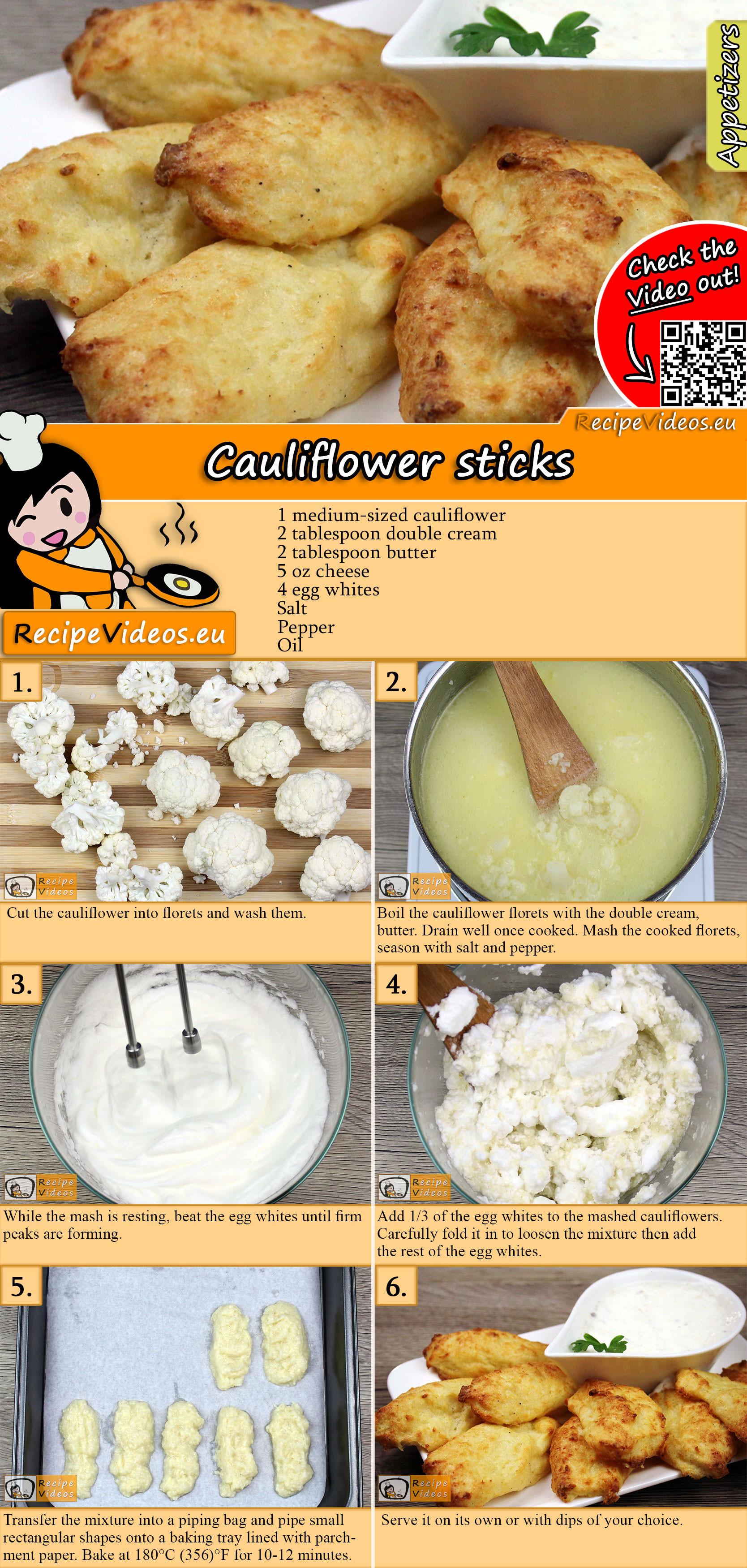 Cauliflower sticks recipe with video