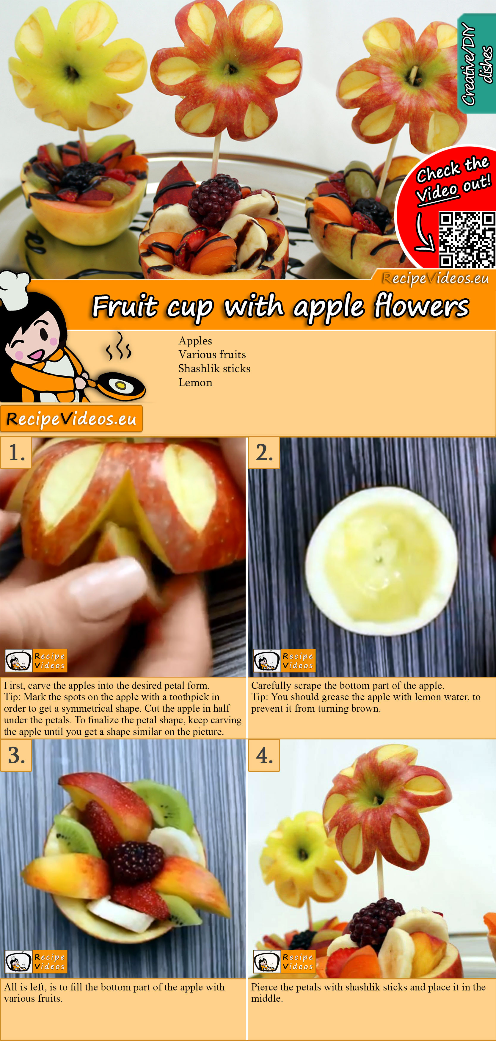 Fruit cup with apple flowers recipe with video