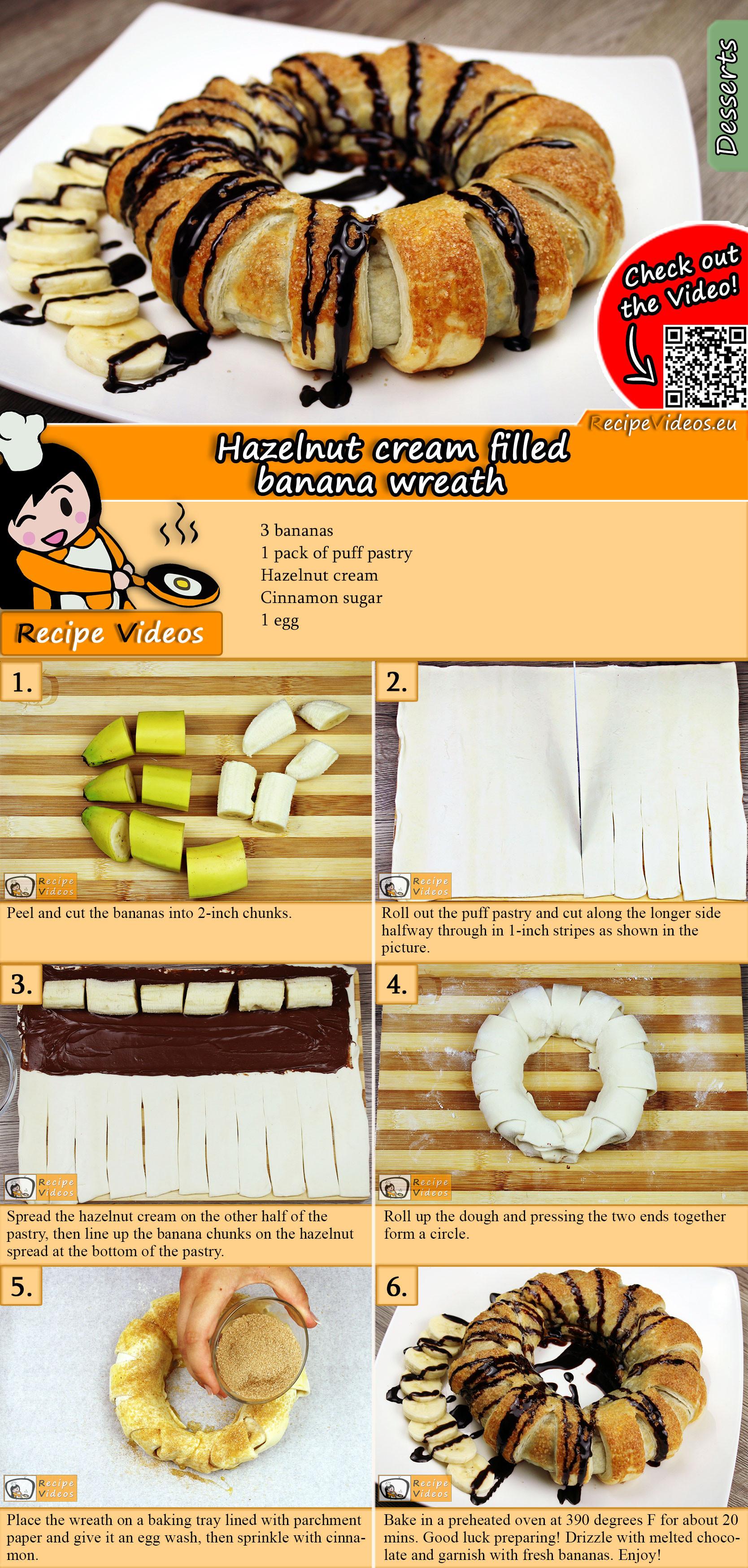 Hazelnut cream filled banana wreath recipe with video