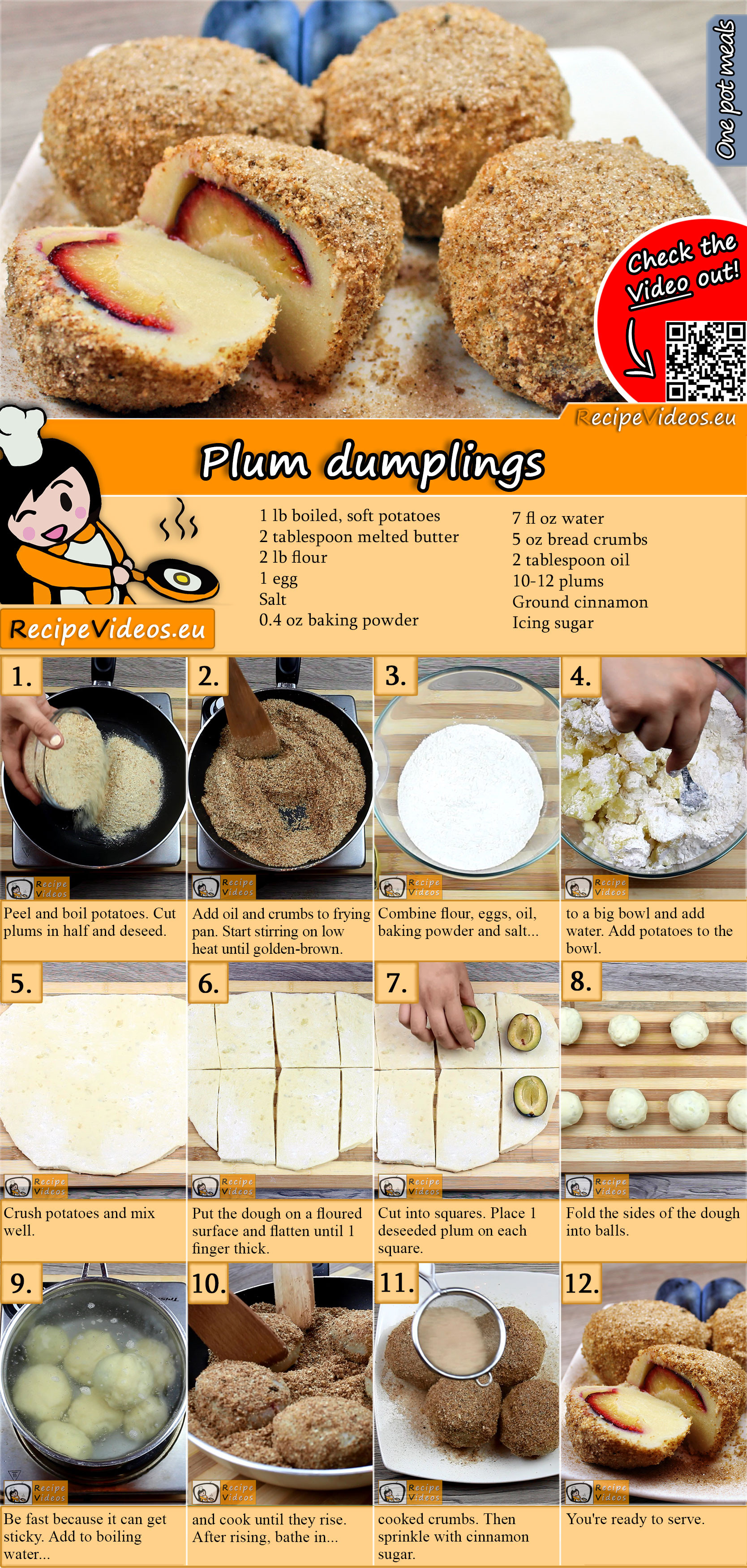 Plum dumplings recipe with video