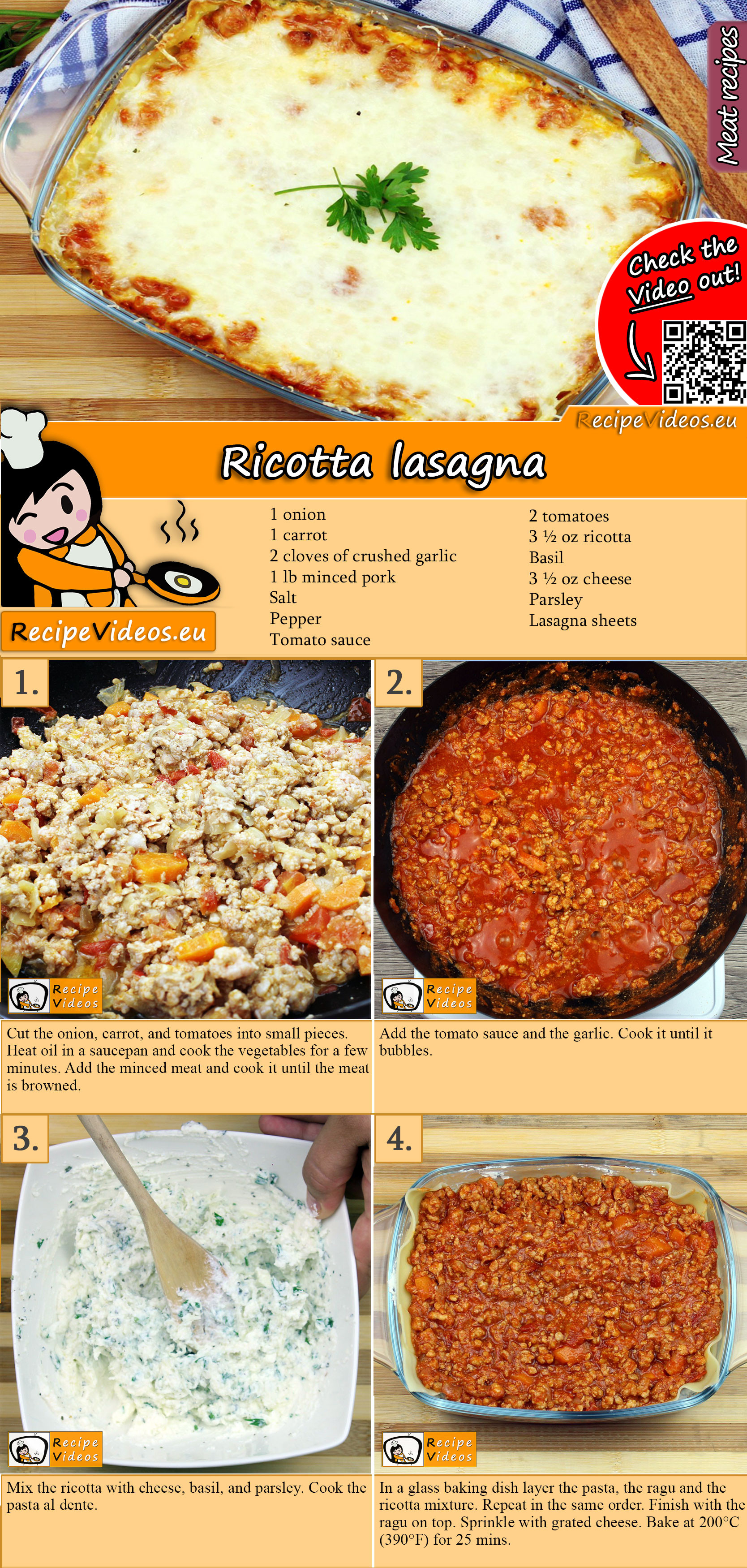 Ricotta lasagna recipe with video