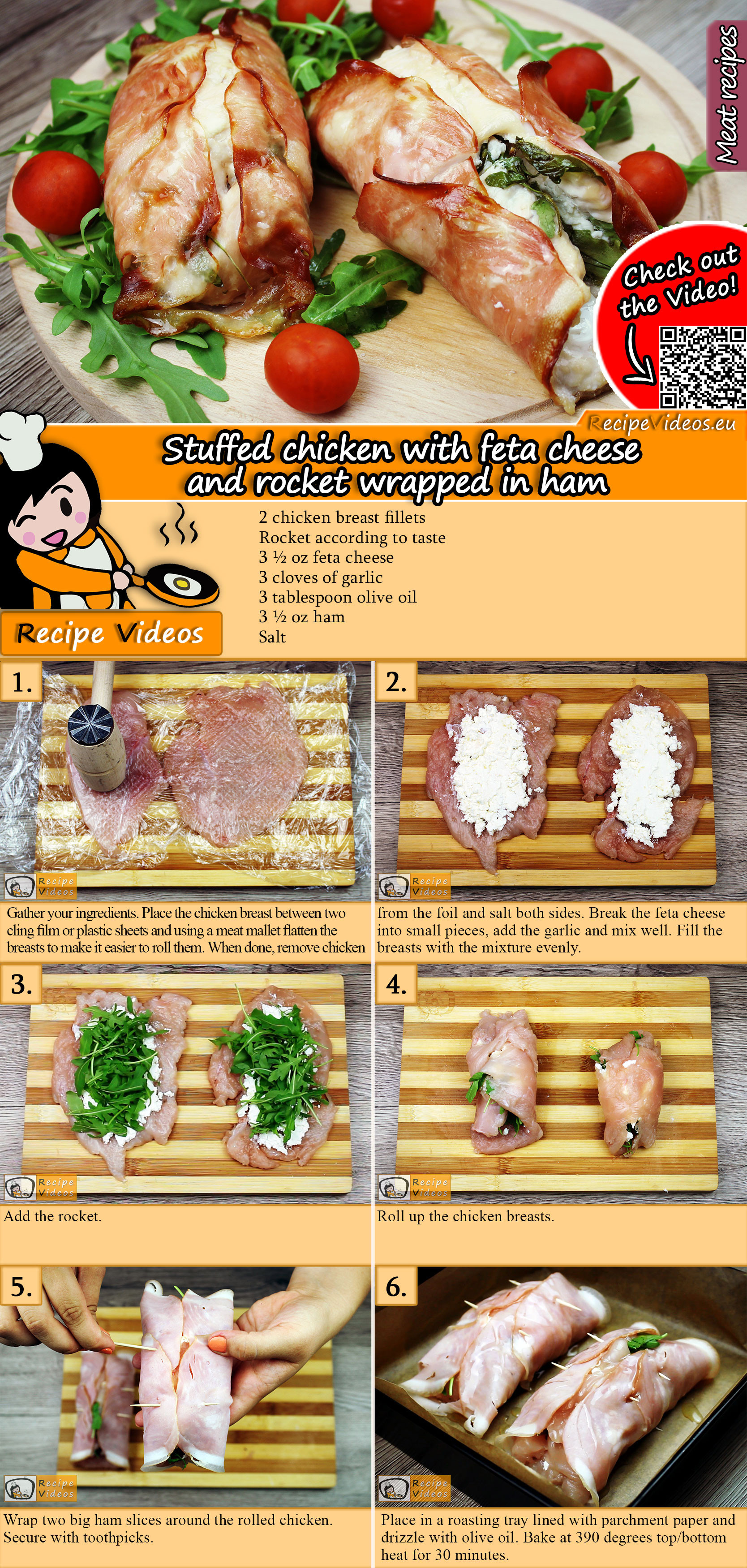 Stuffed chicken with feta cheese and rocket wrapped in ham recipe with video
