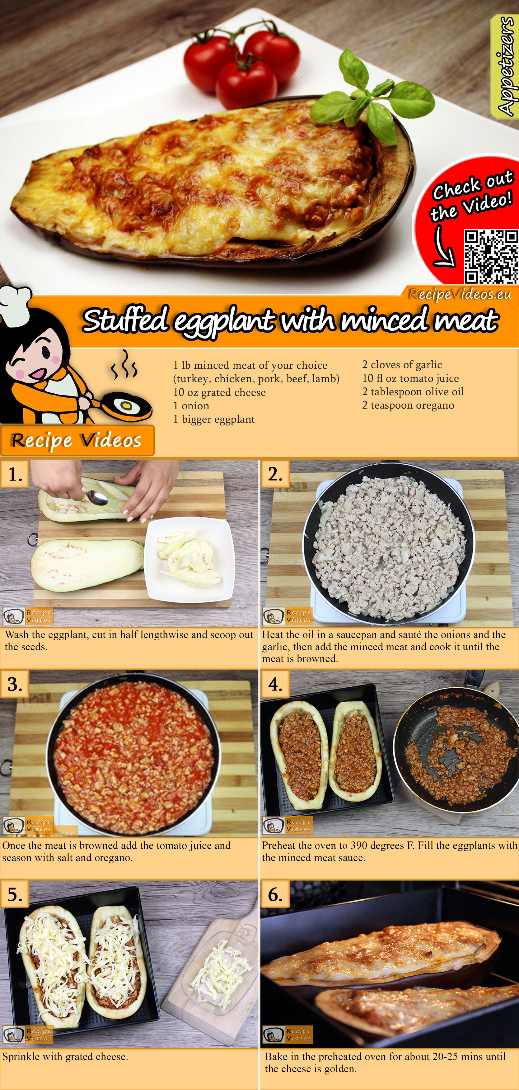 Stuffed eggplant with minced meat recipe with video