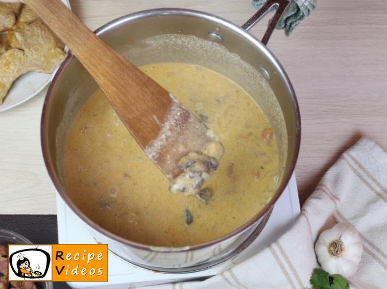 Pork schnitzel Bakonyi style recipe, prepping Pork schnitzel Bakonyi style step 13