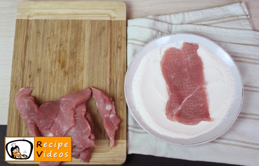 Pork schnitzel Bakonyi style recipe, prepping Pork schnitzel Bakonyi style step 1