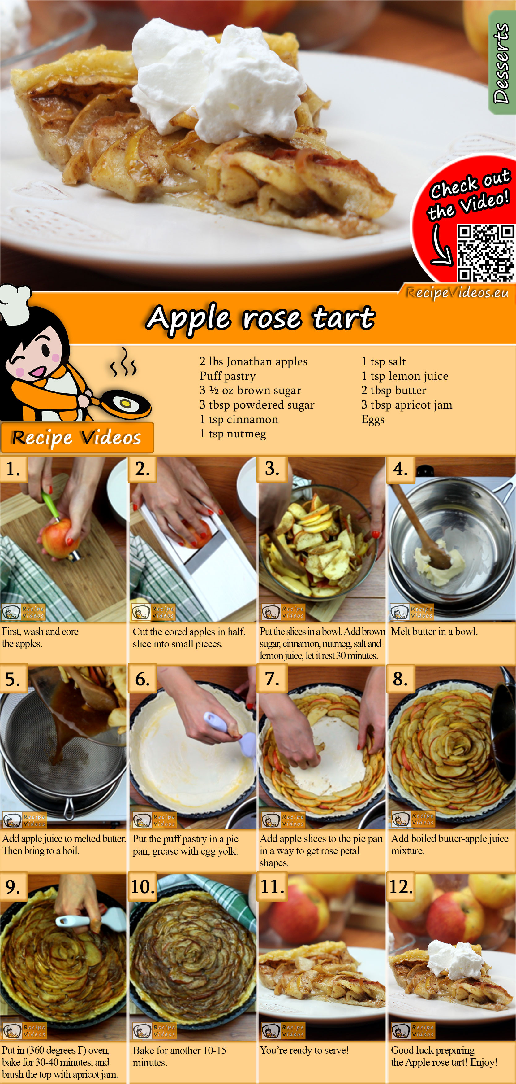 Apple rose tart recipe with video