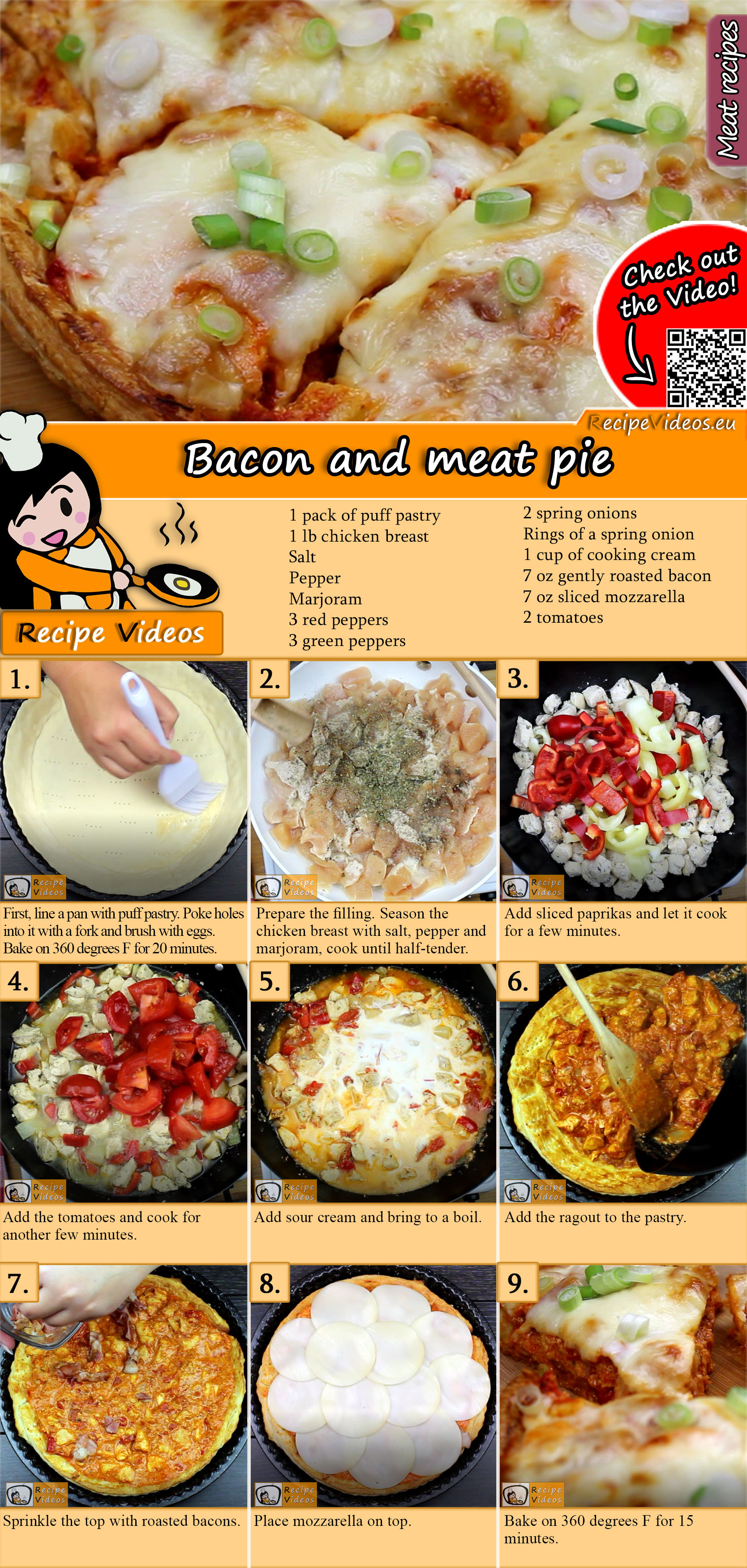 Bacon and meat pie recipe with video