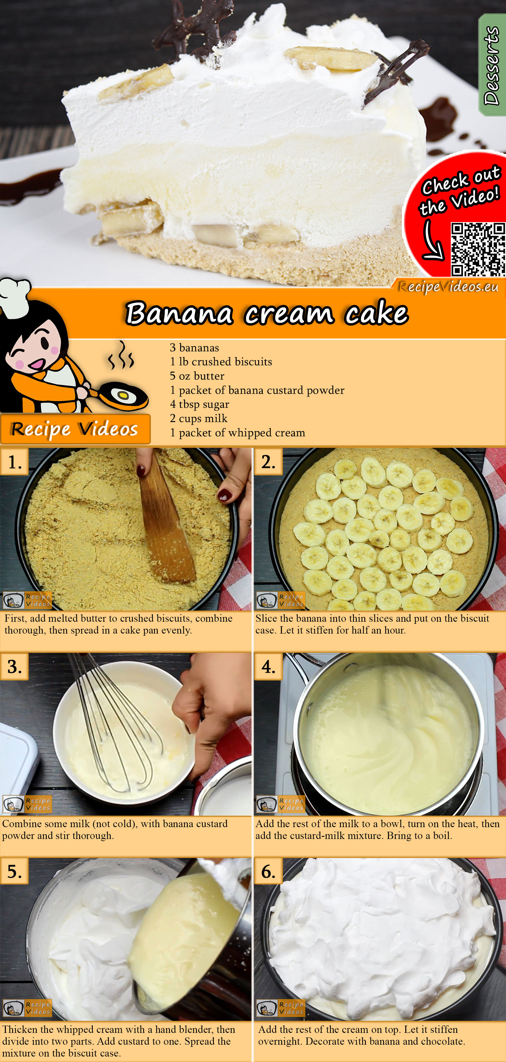 Banana cream cake recipe with video