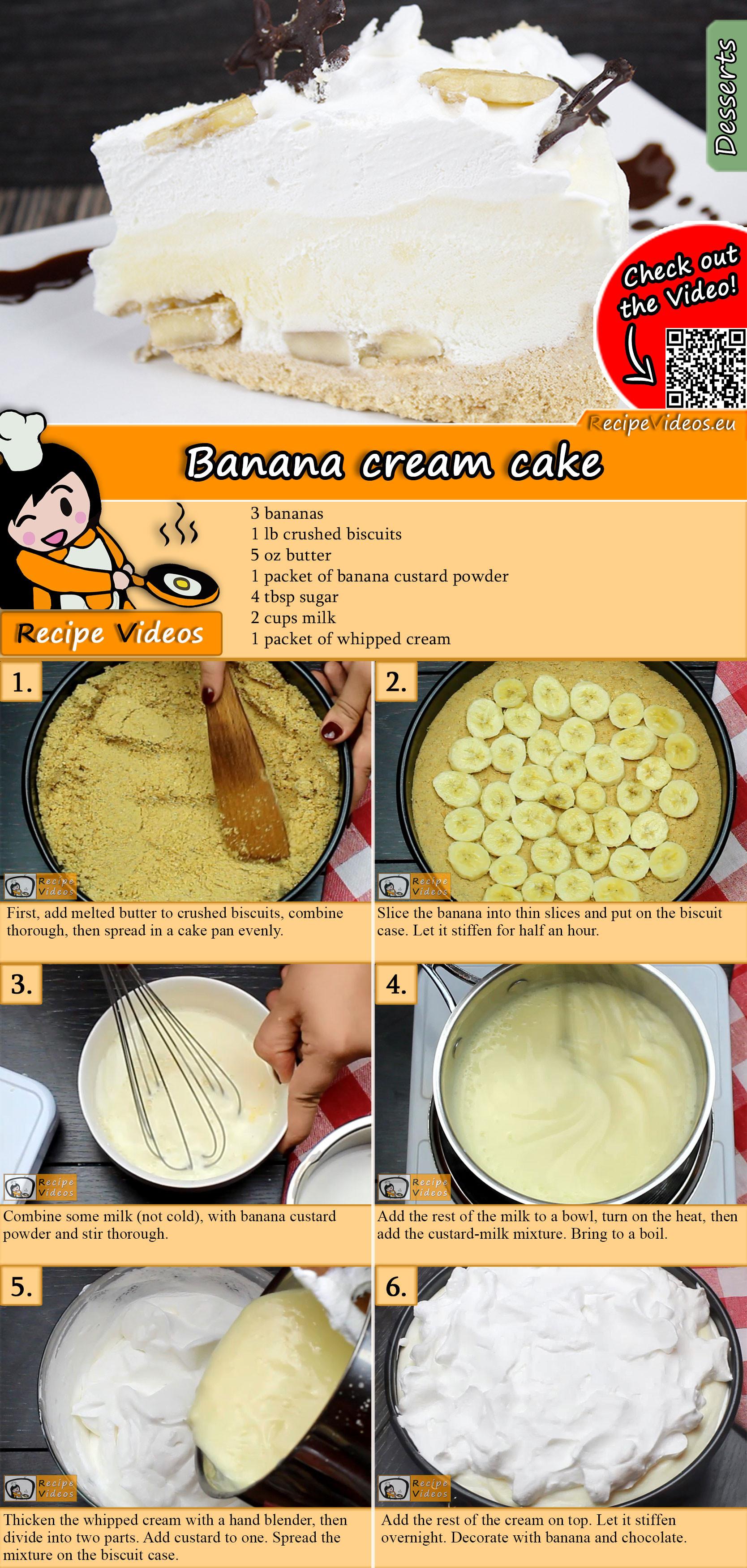 Banana cream cake recipe with video