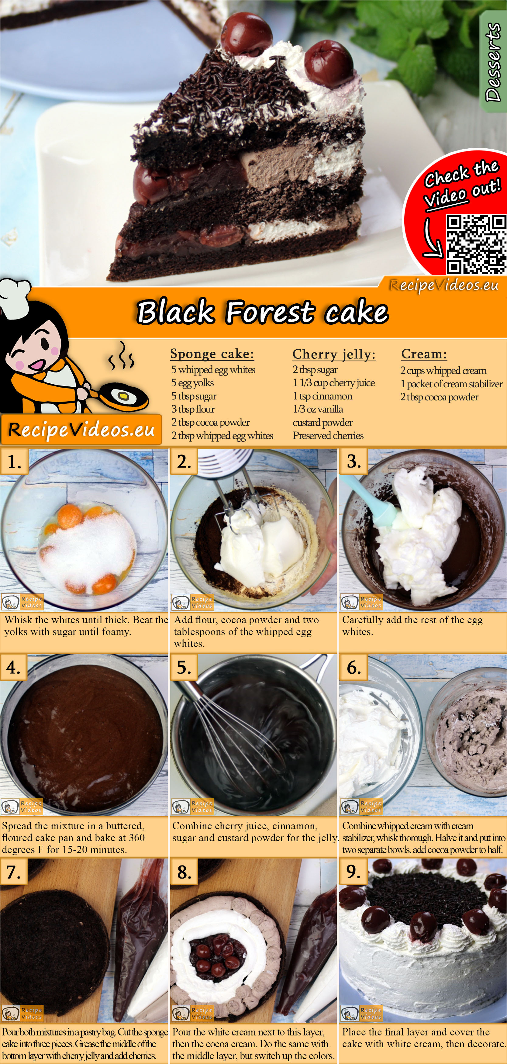 Black Forest cake recipe with video