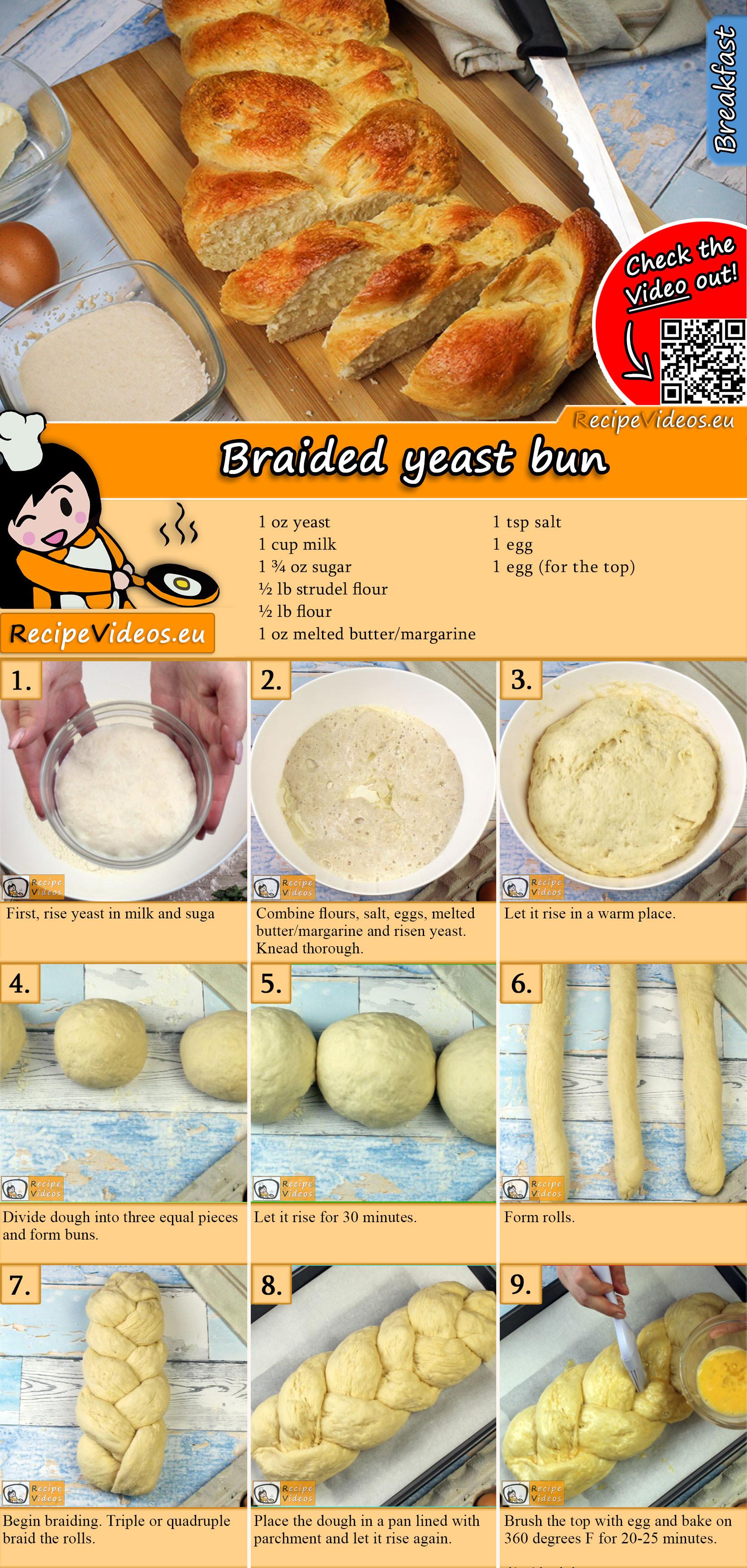 Braided yeast bun recipe with video