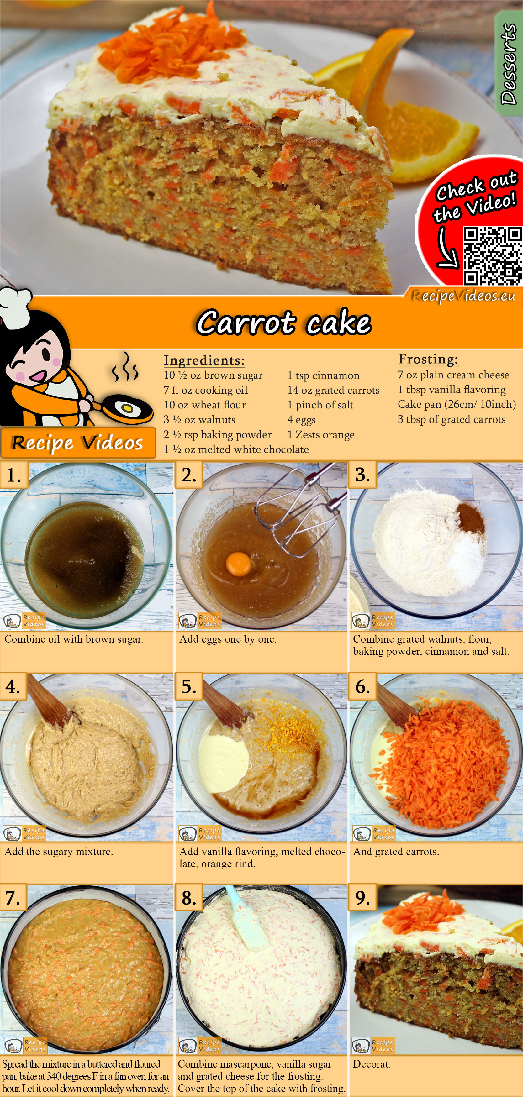 Carrot cake recipe with video