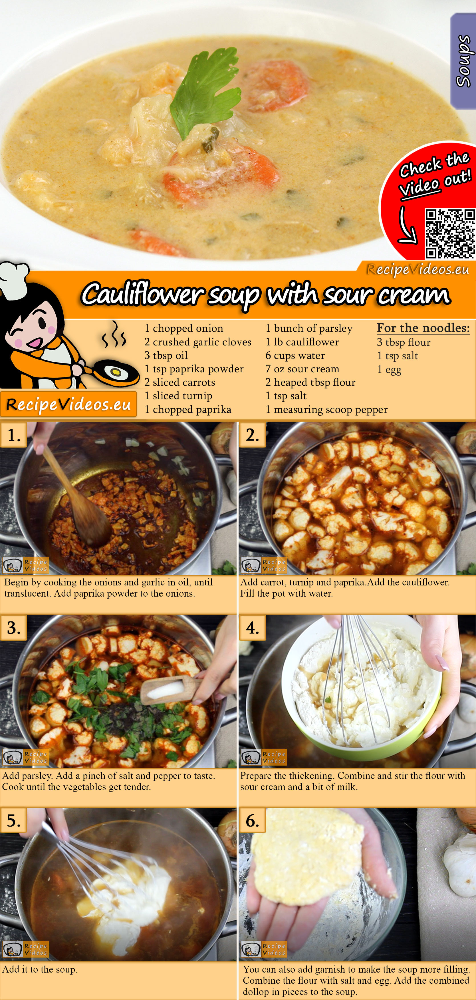 Cauliflower soup with sour cream recipe with video