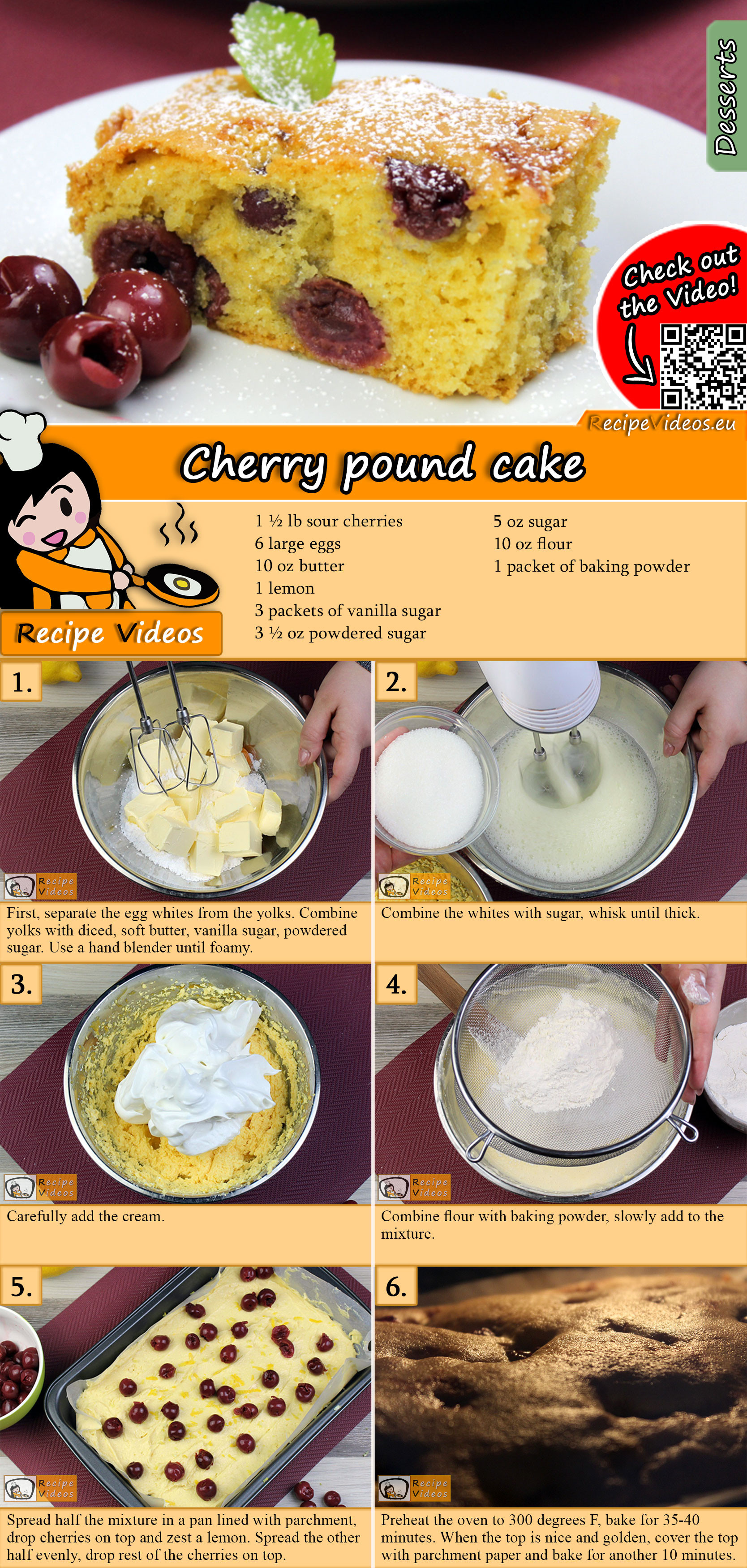 Cherry pound cake recipe with video