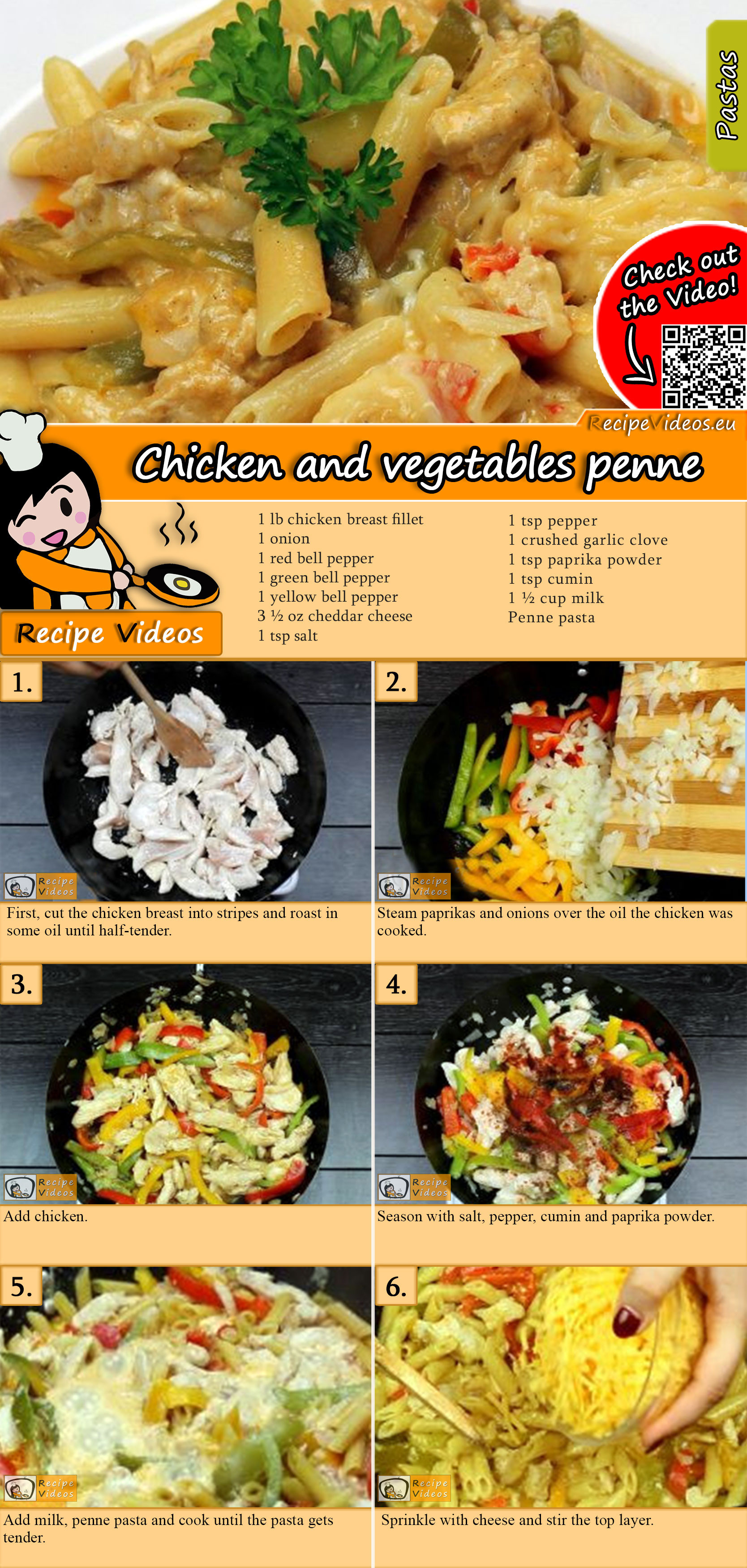 Chicken and vegetables penne recipe with video