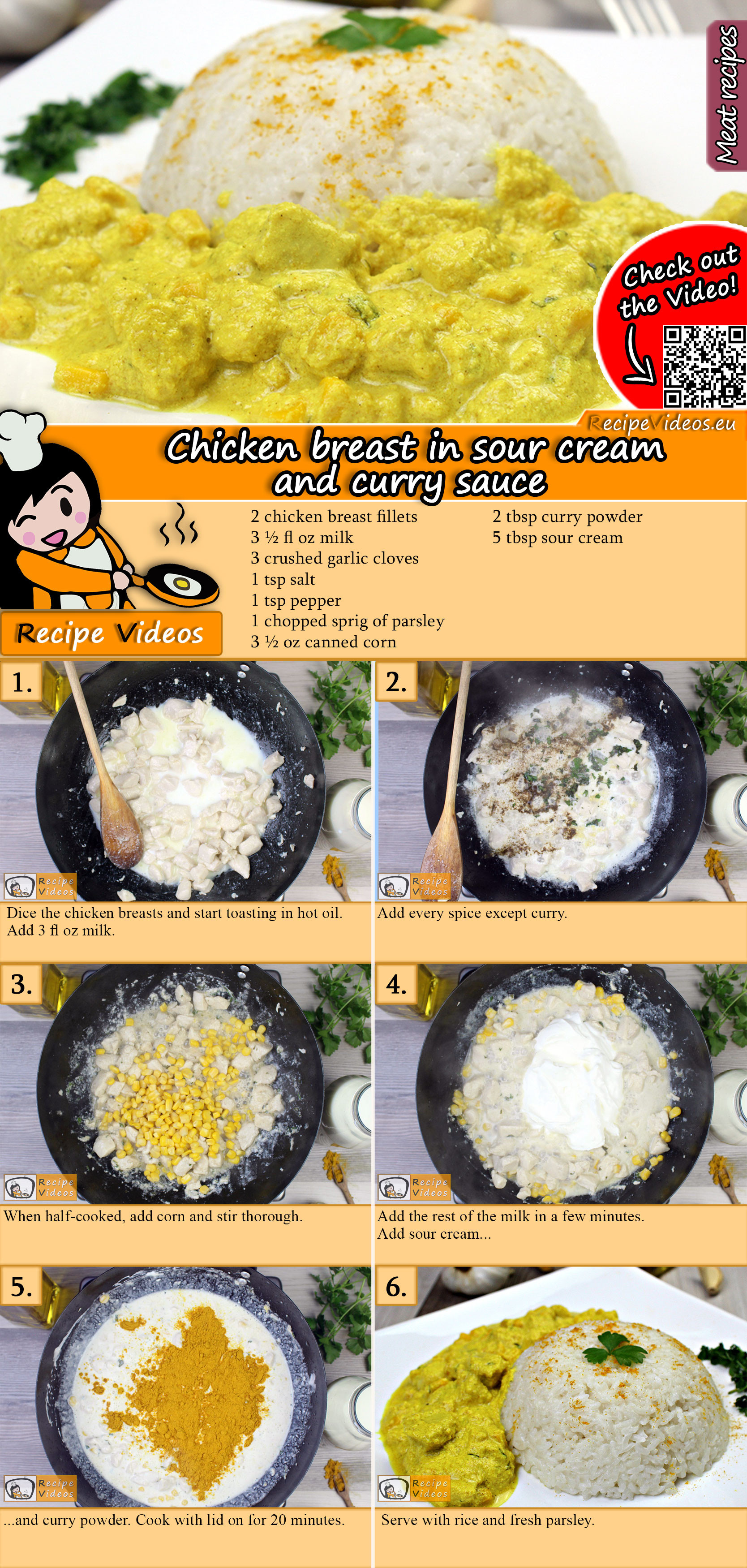 Chicken breast in sour cream and curry sauce recipe with video