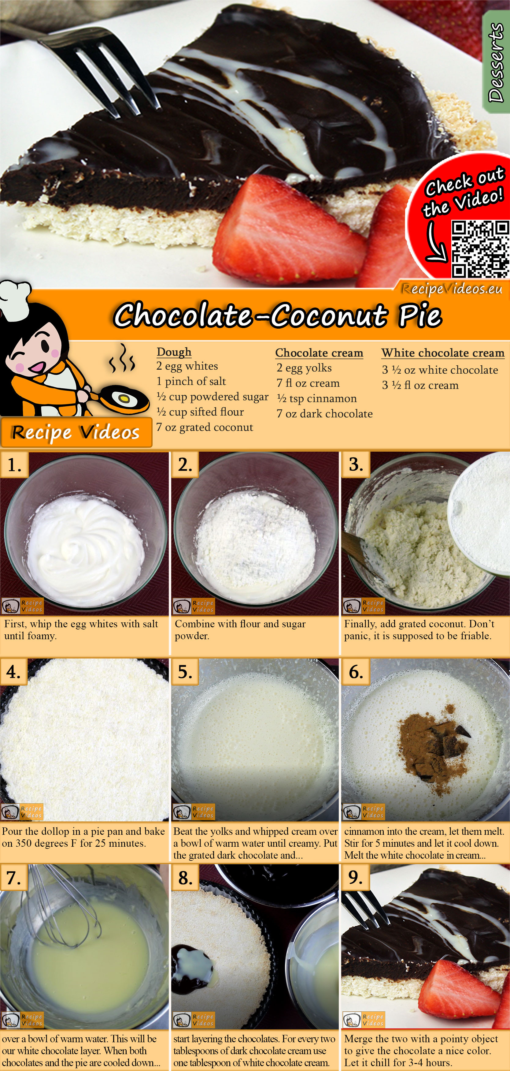 Chocolate-Coconut Pie recipe with video