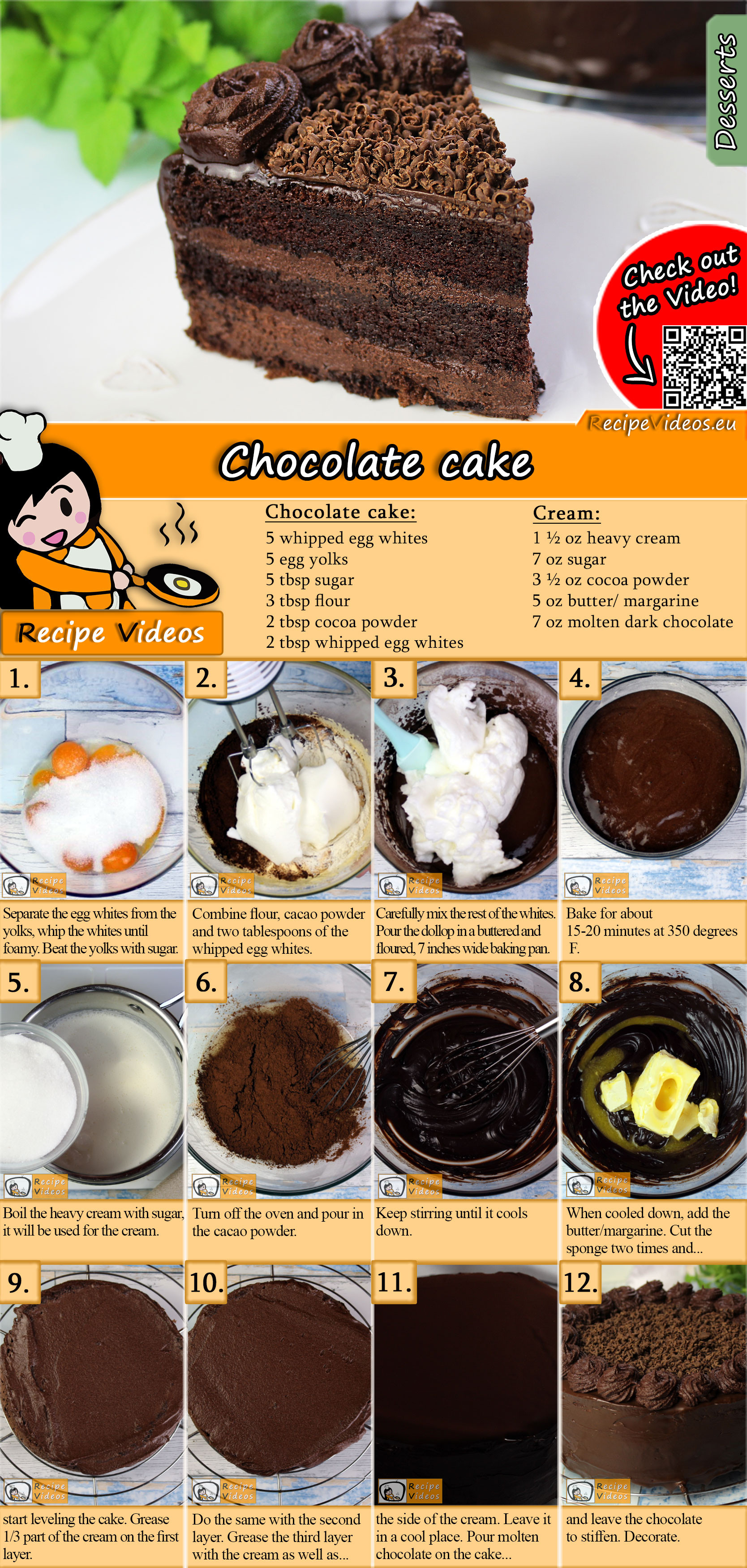 Chocolate cake recipe with video