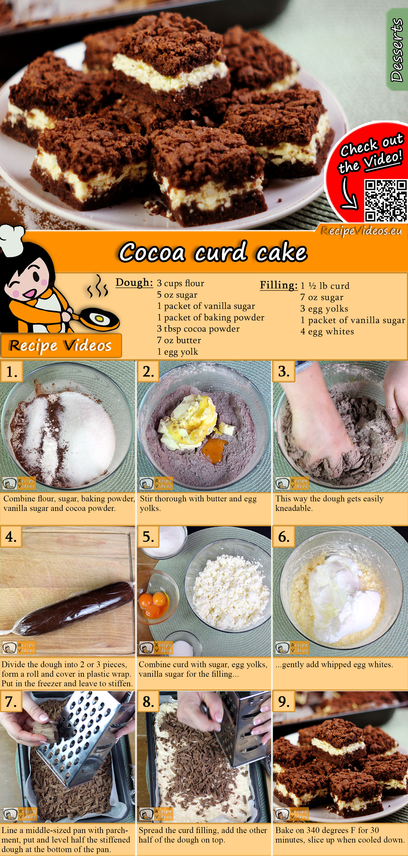 Cocoa curd cake recipe with video