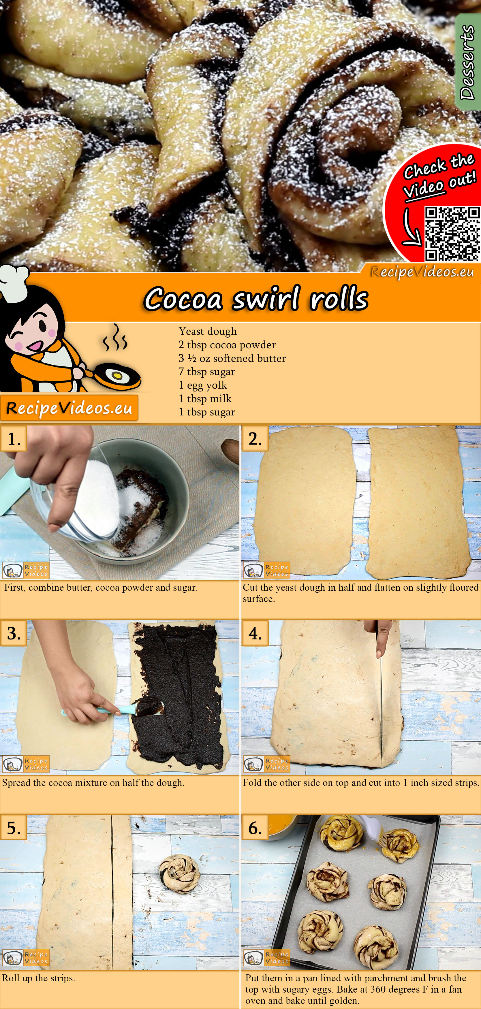 Cocoa swirl rolls recipe with video