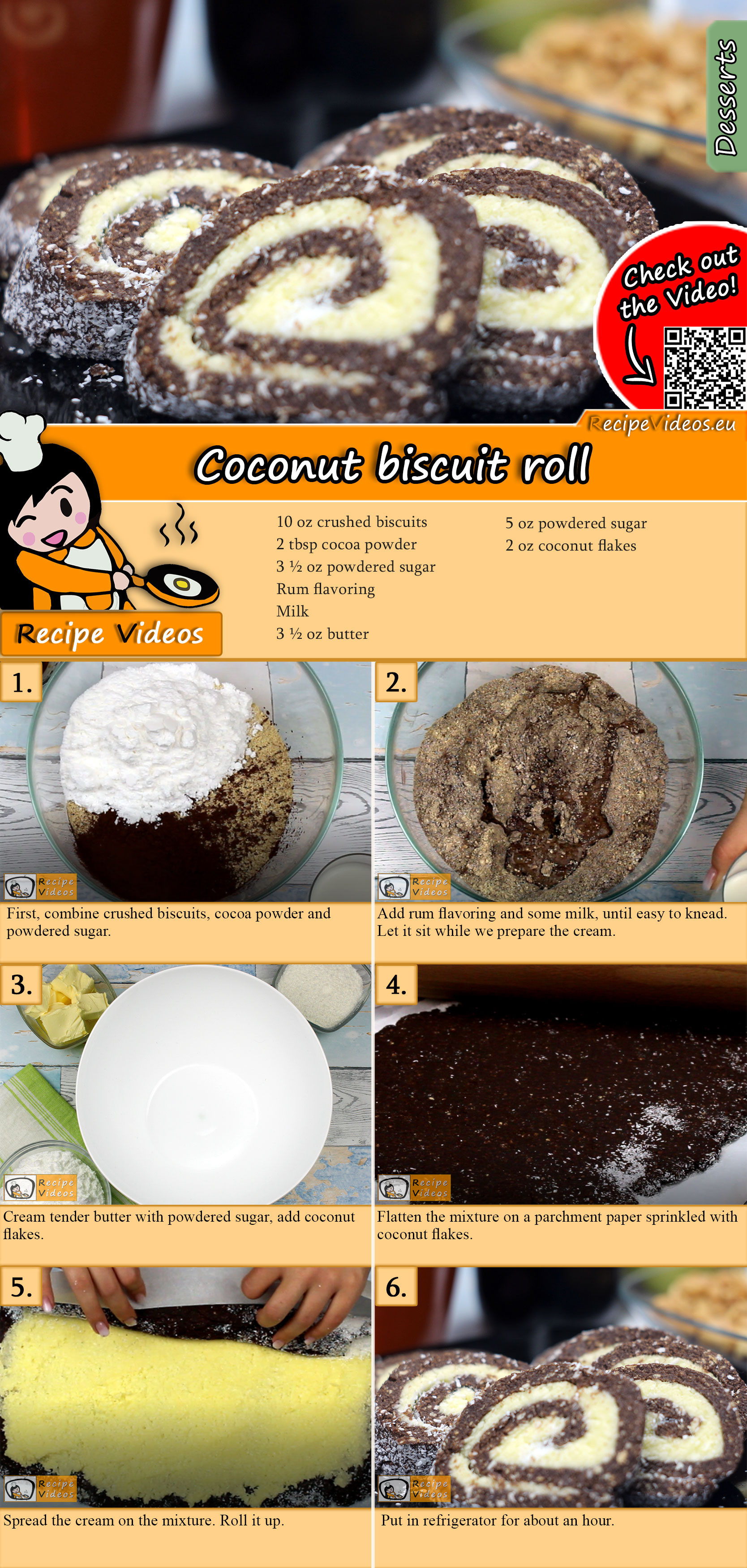 Coconut biscuit roll recipe with video