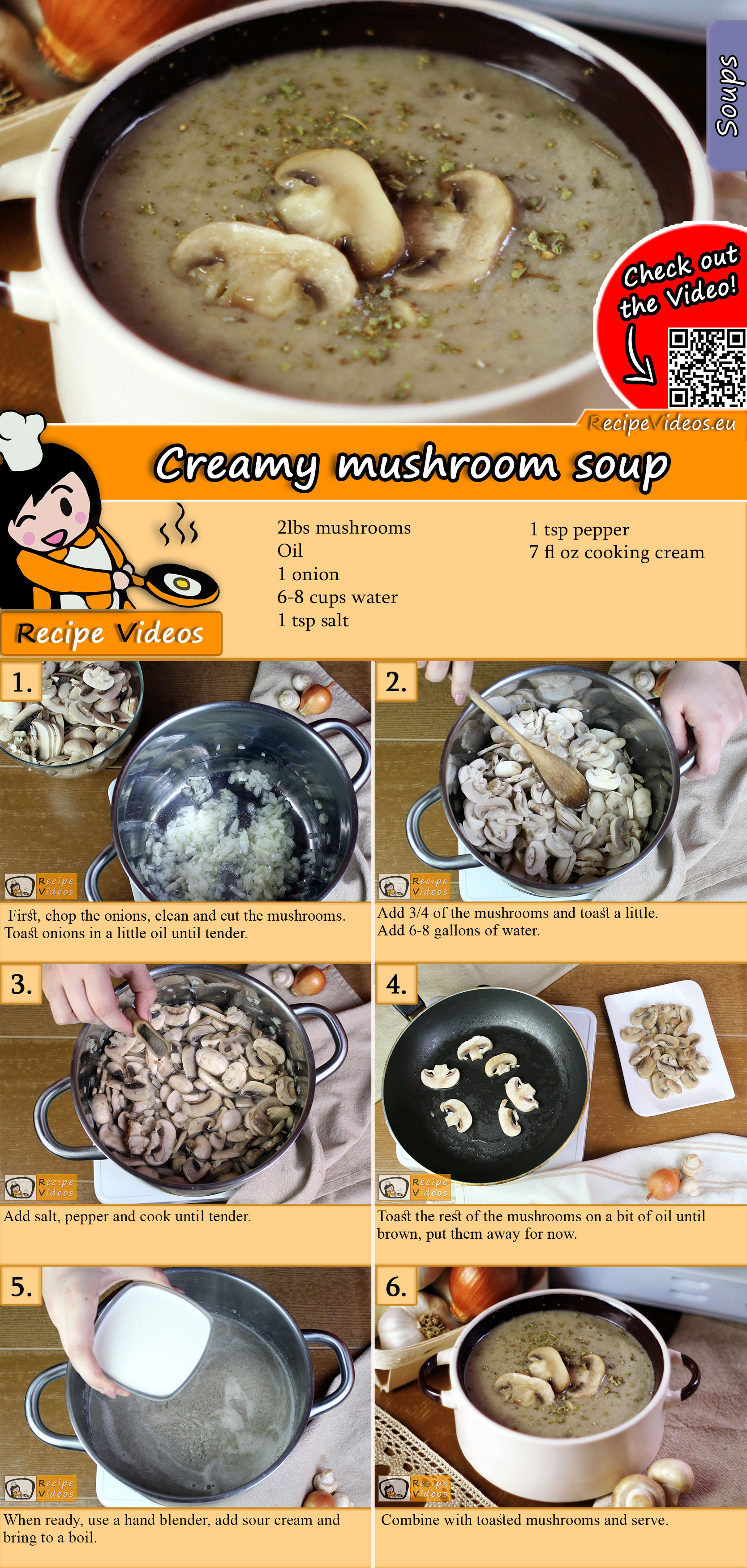 Creamy mushroom soup recipe with video