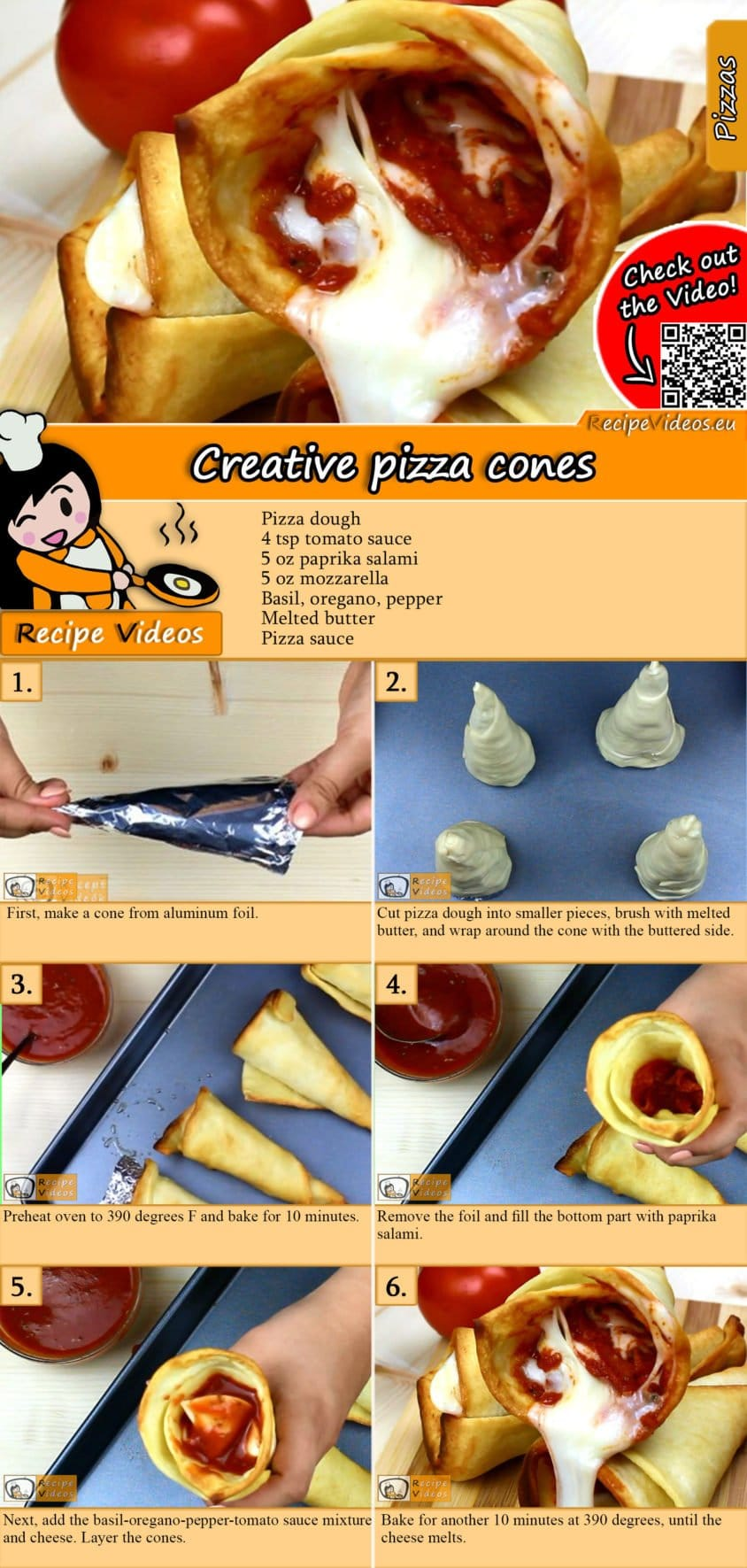 Creative pizza cones recipe with video