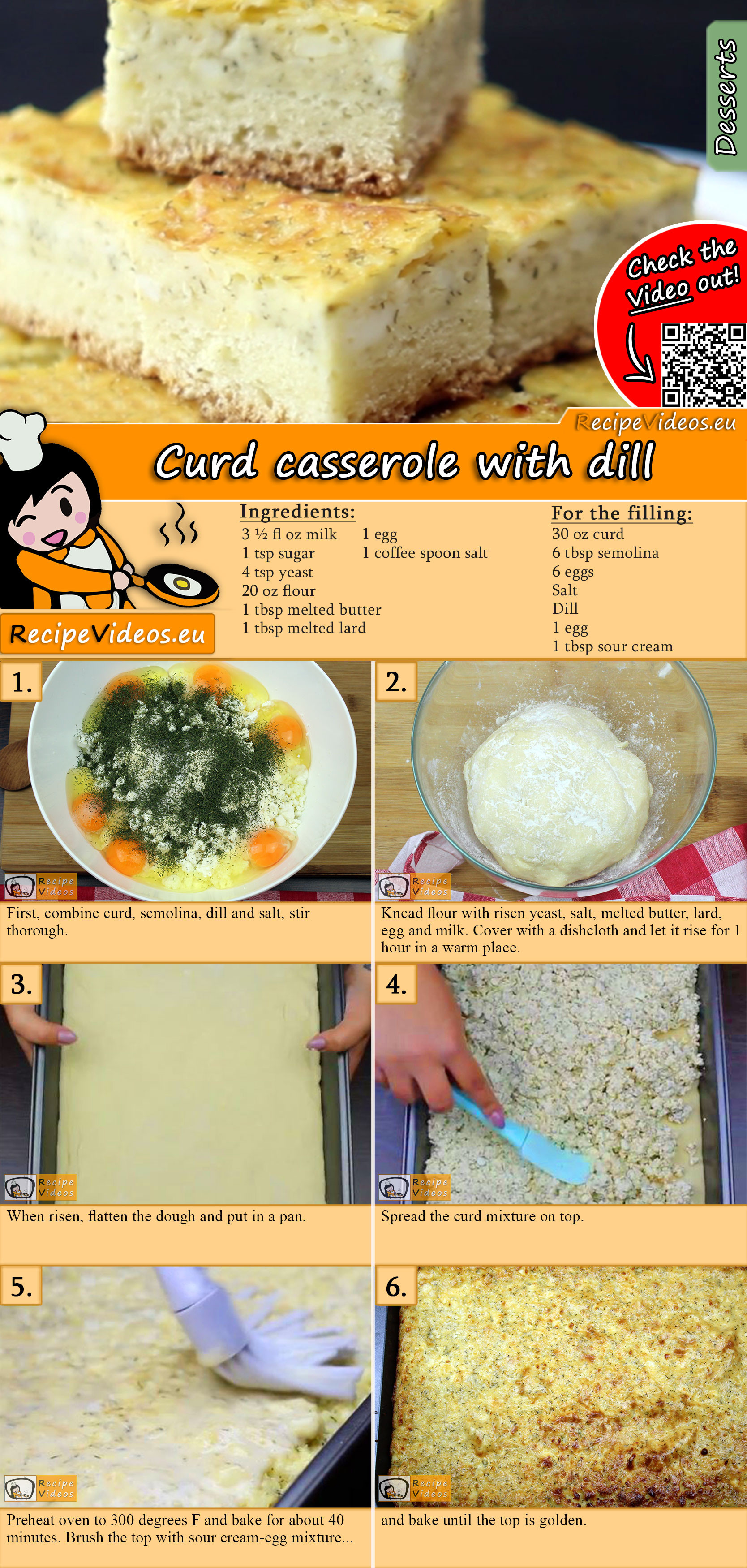 Curd casserole with dill recipe with video