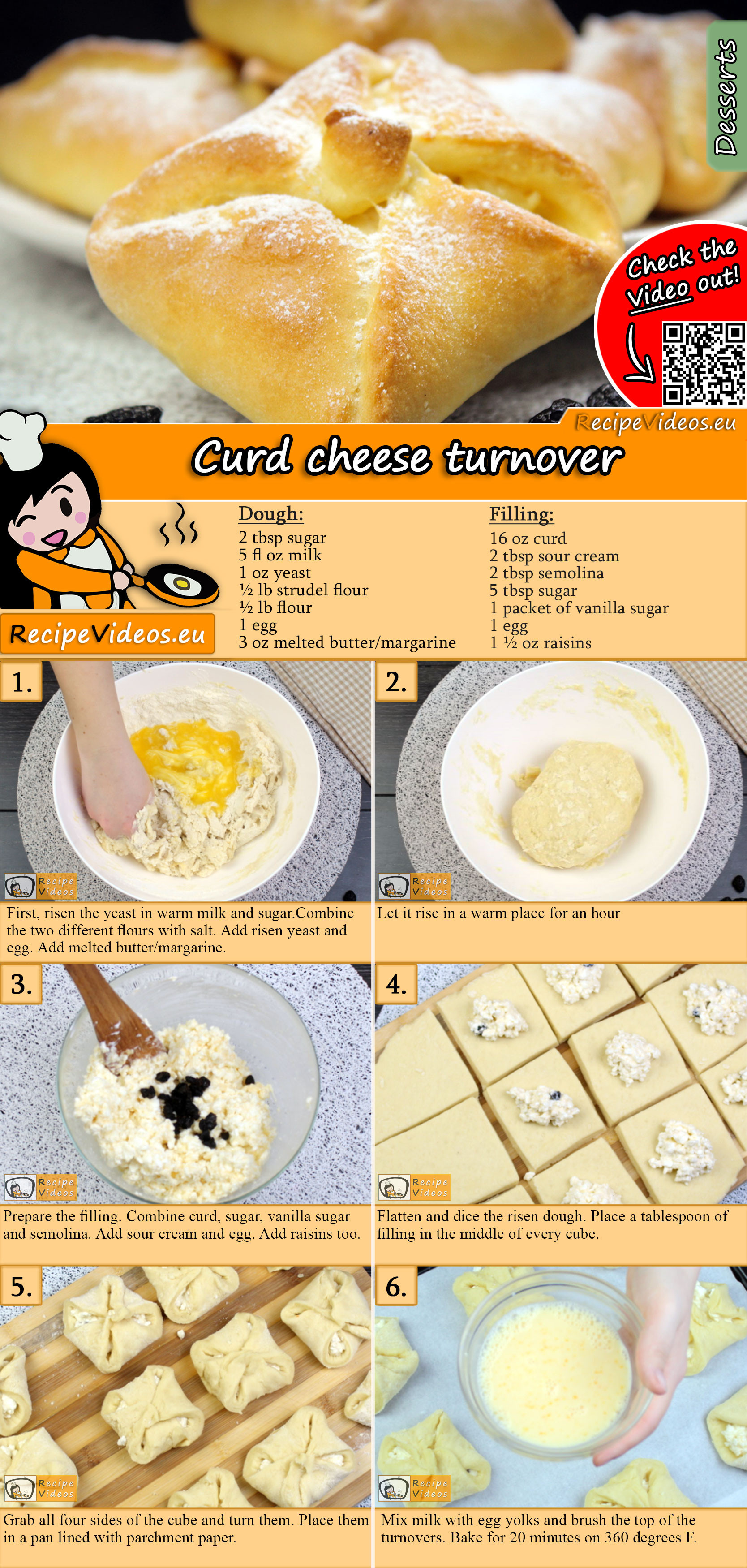 Curd cheese turnover recipe with video